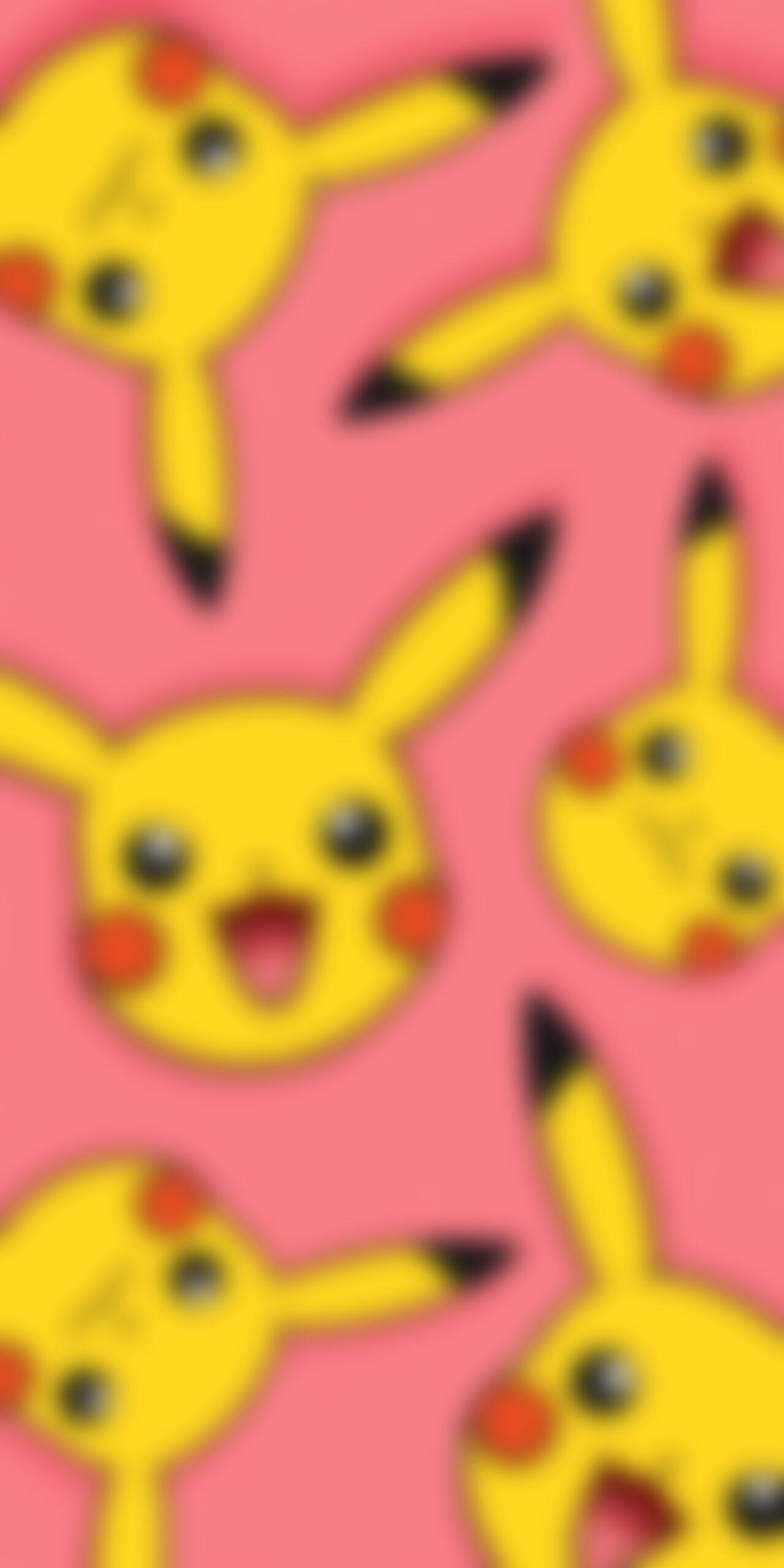 pokemon smiling pikachu pink blur wallpaper