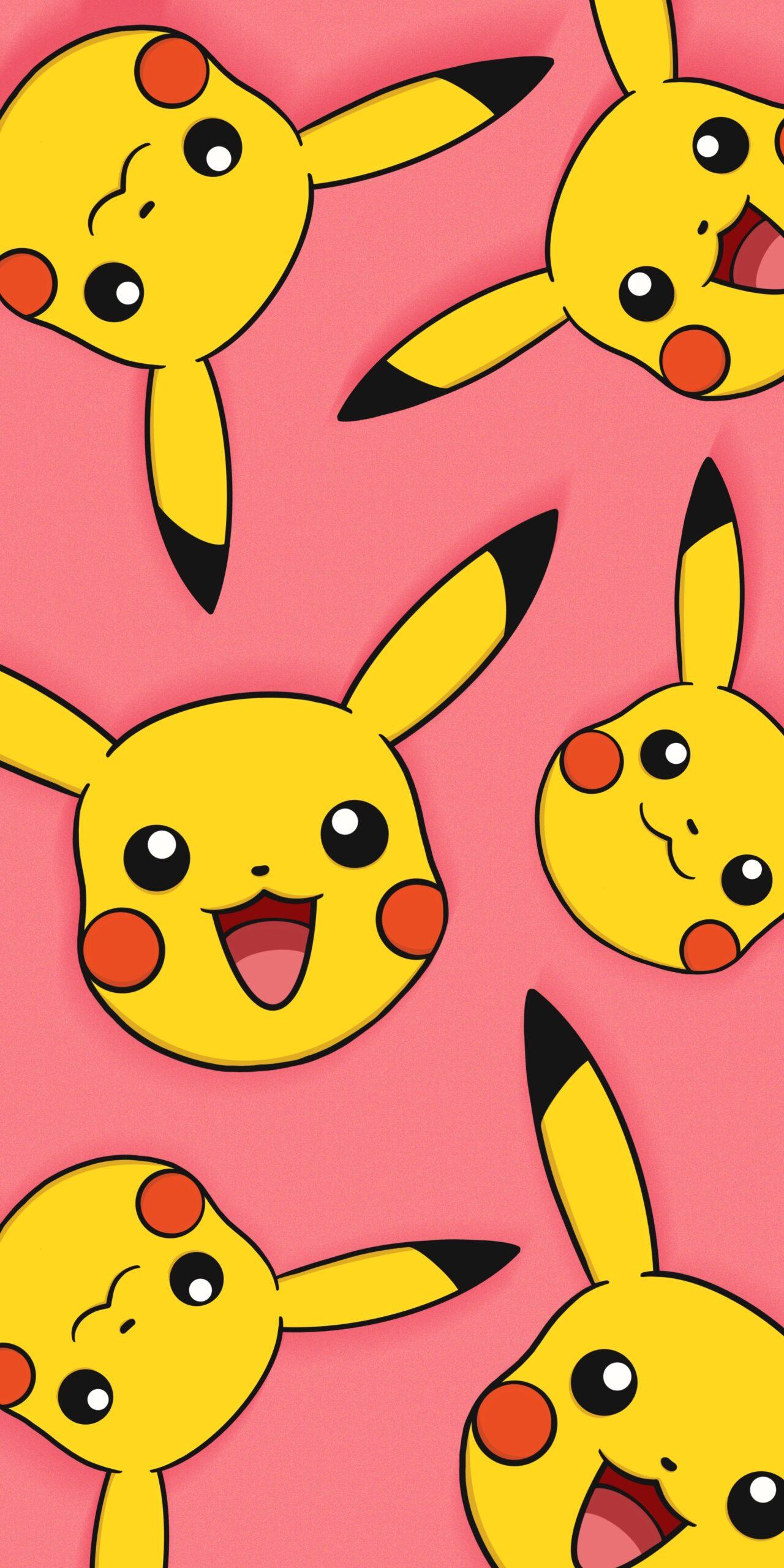 pokemon smiling pikachu pink wallpaper