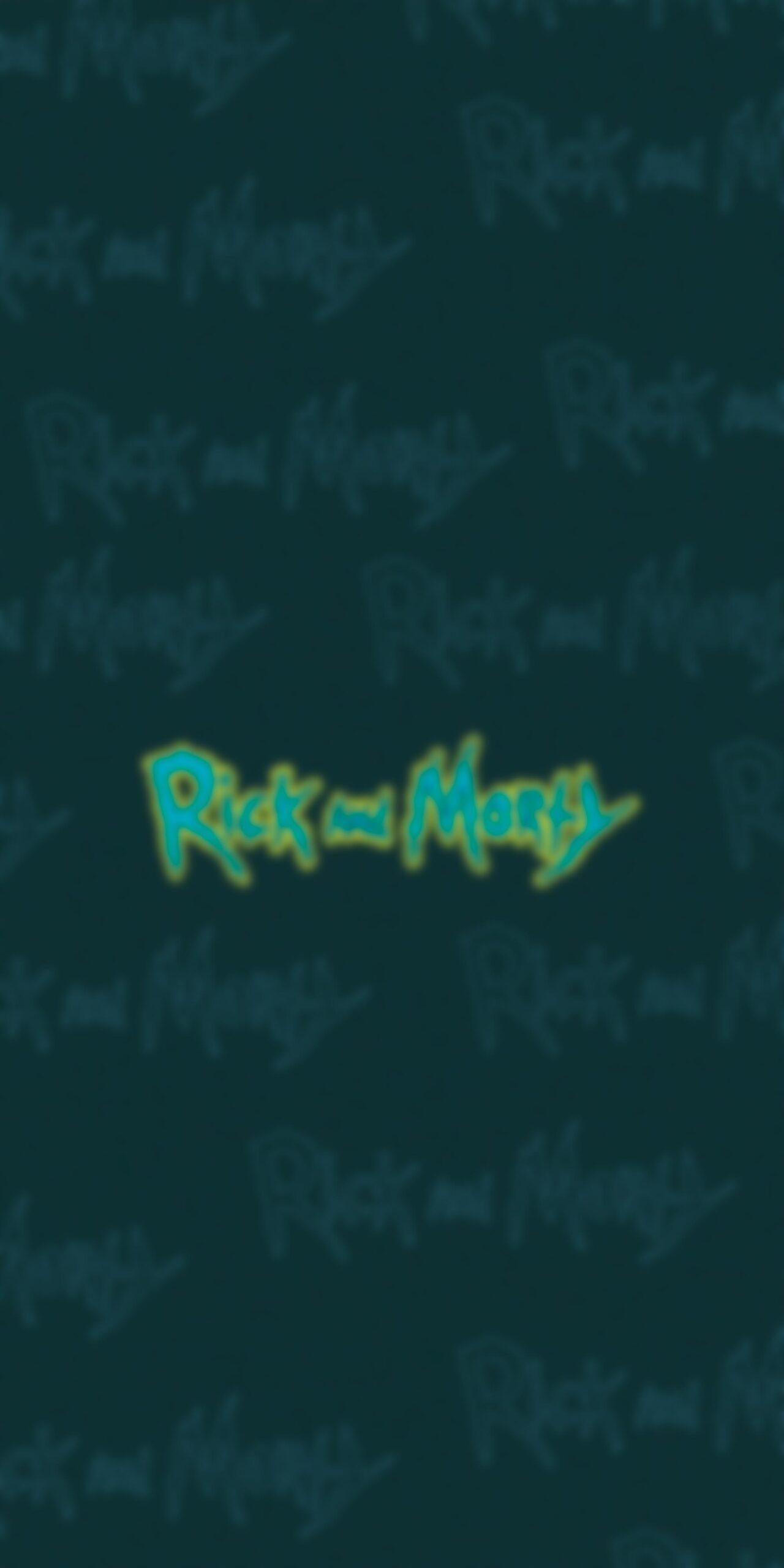 rick and morty logo blue blur wallpaper