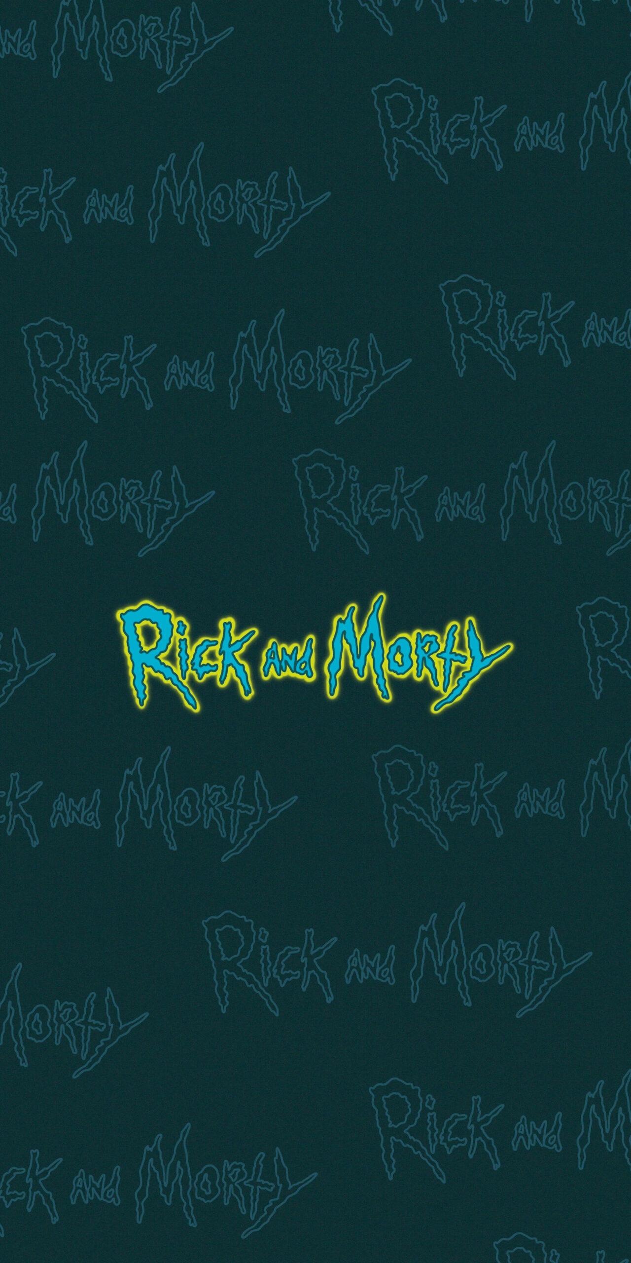 rick and morty logo blue wallpaper