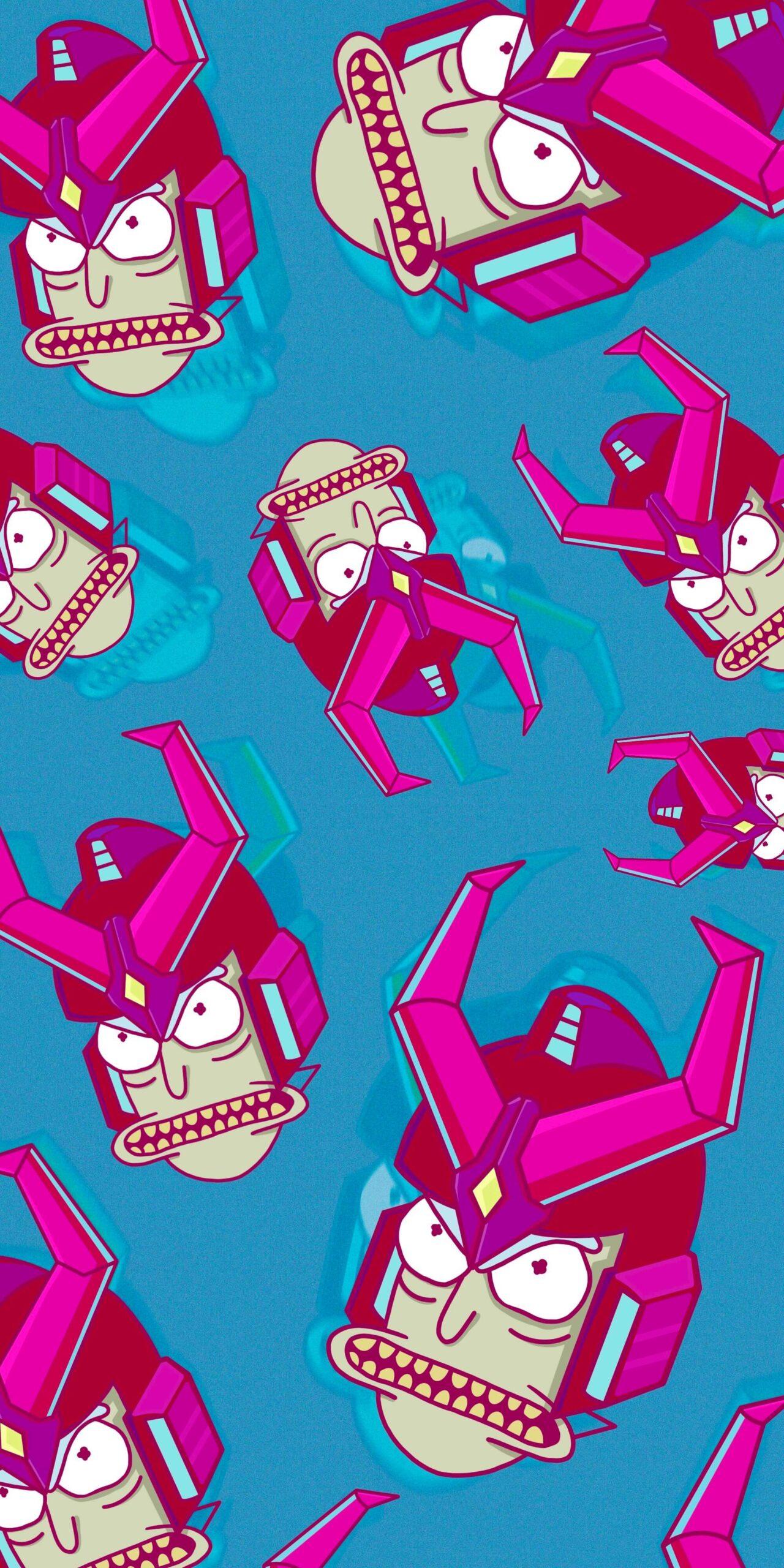 Rick Sanchez Gundam Blue Phone Wallpaper