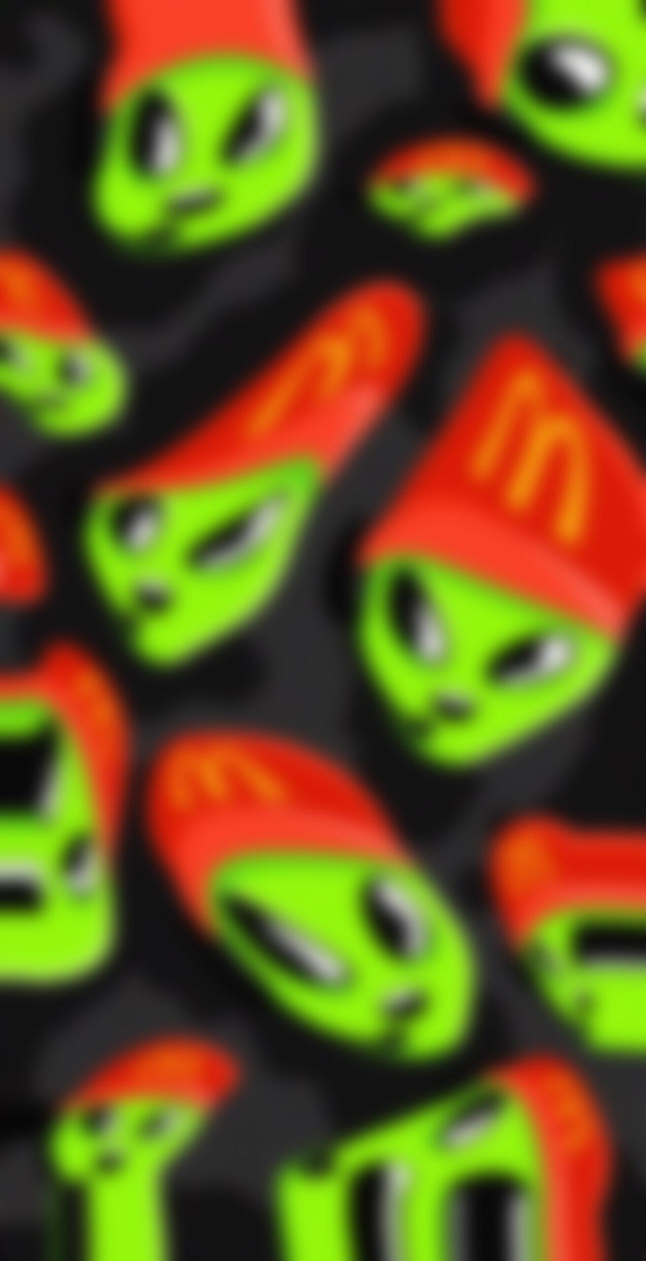 space green alien mcdonalds employee blur wallpaper