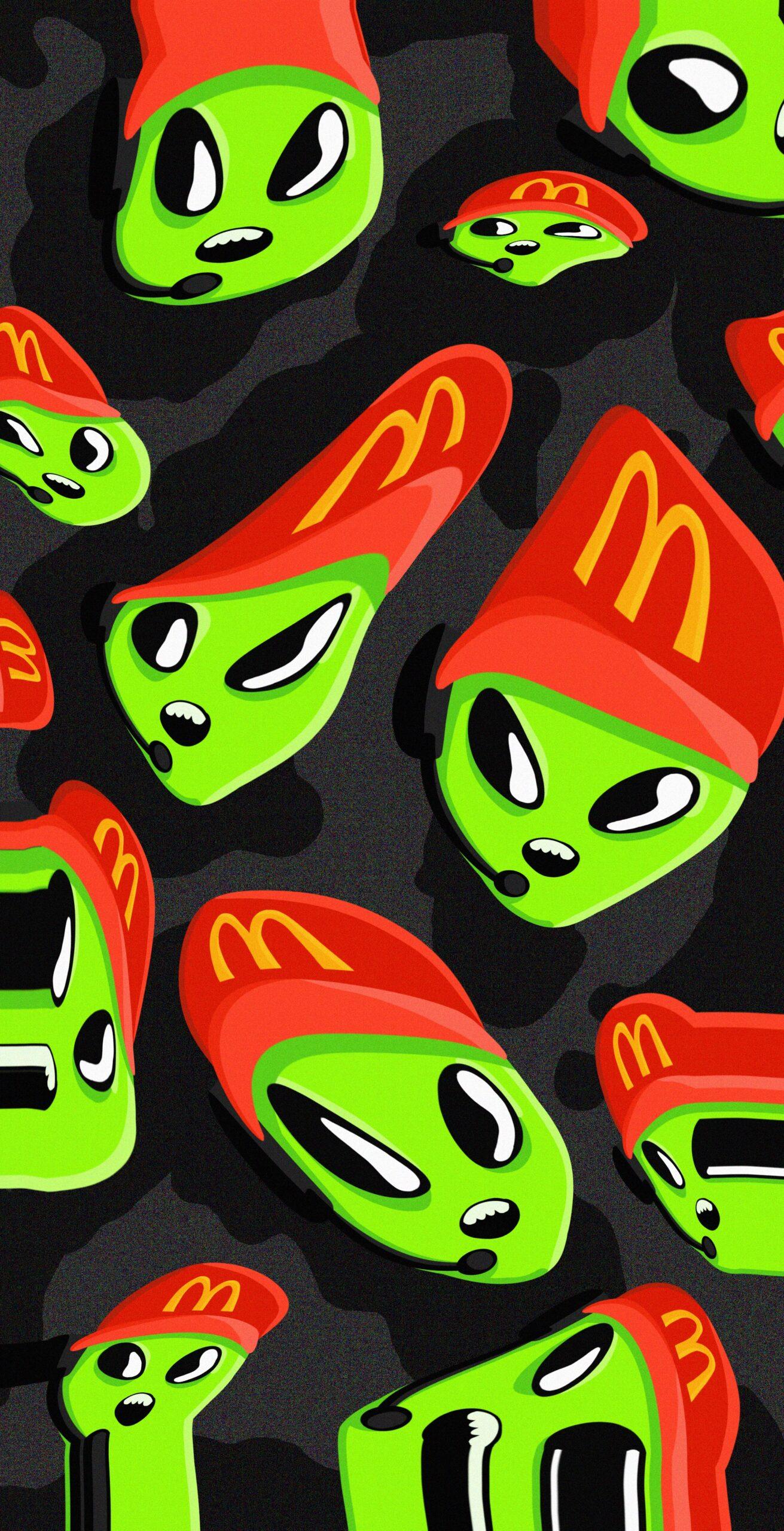 space green alien mcdonalds employee wallpaper