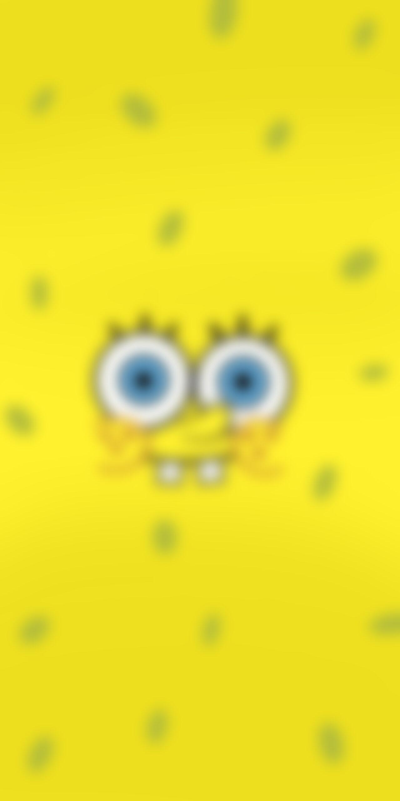 spongebob smiling face blur wallpaper