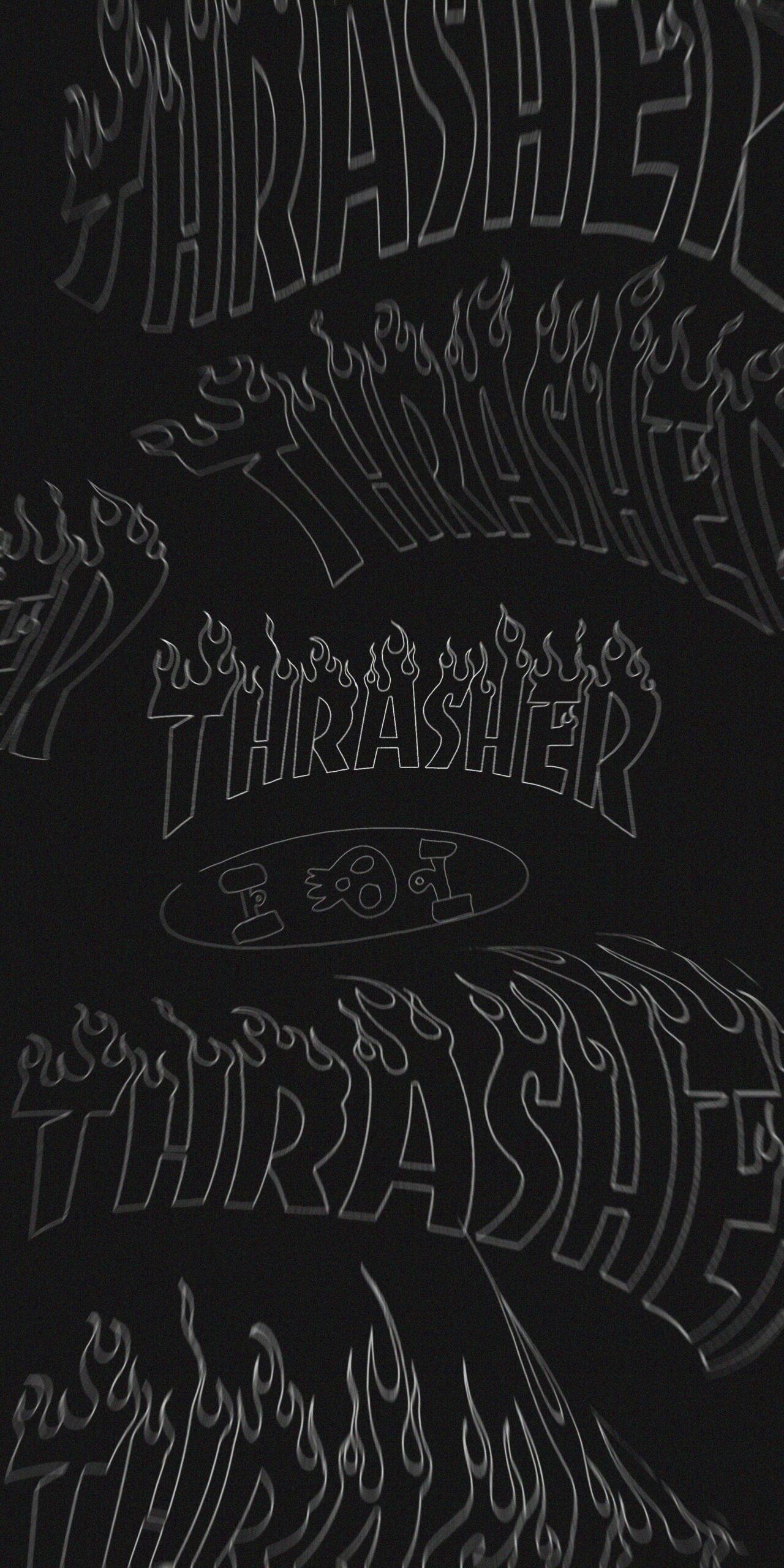 thrasher flame logo dark wavy background wallpaper