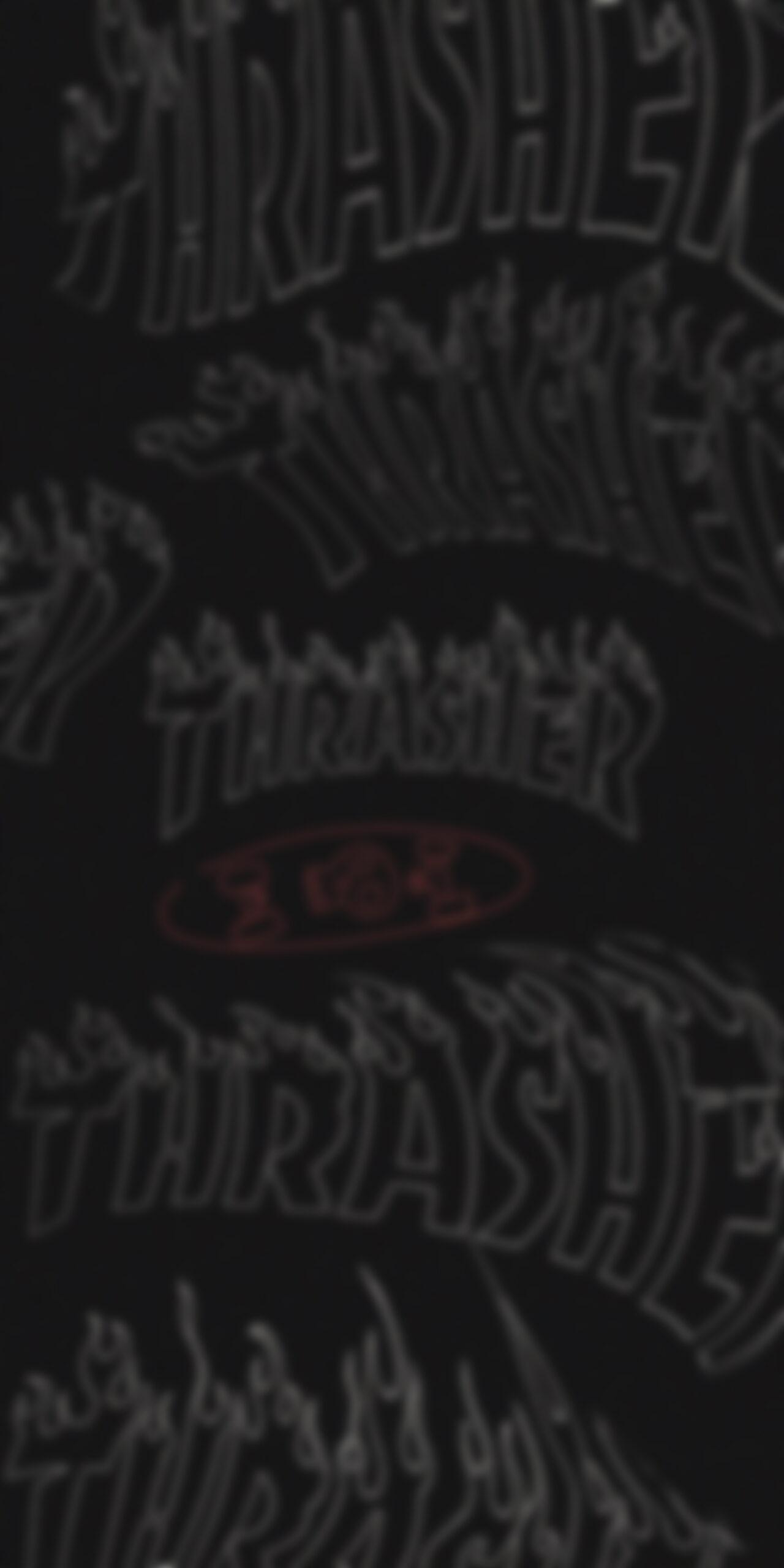 thrasher flame logo dark wavy blur wallpaper
