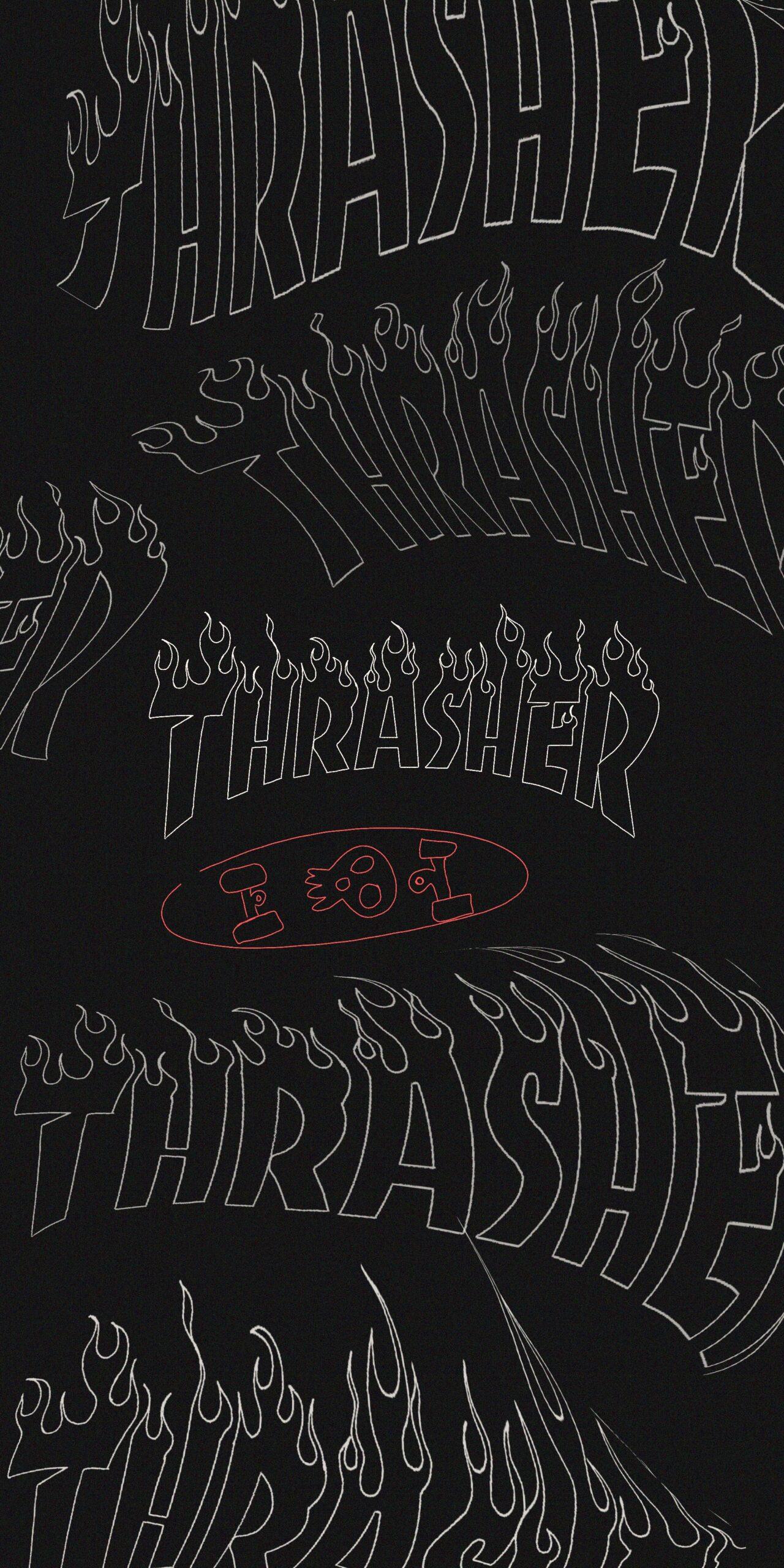 thrasher flame logo dark wavy wallpaper