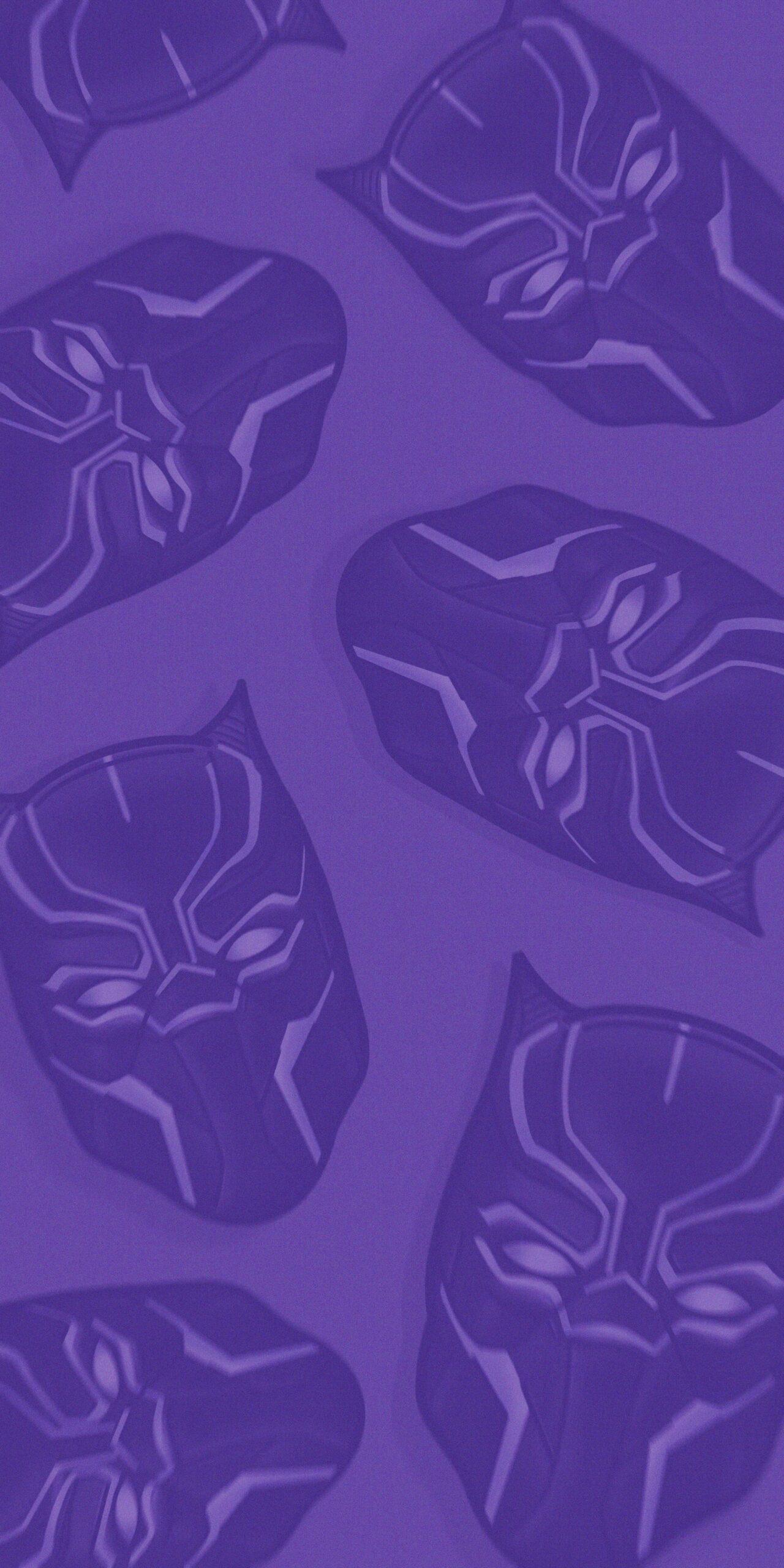 black panther head purple background wallpaper