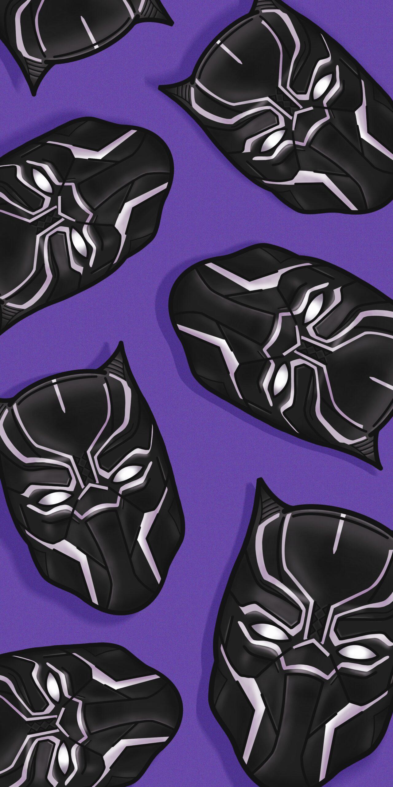 black panther head purple wallpaper