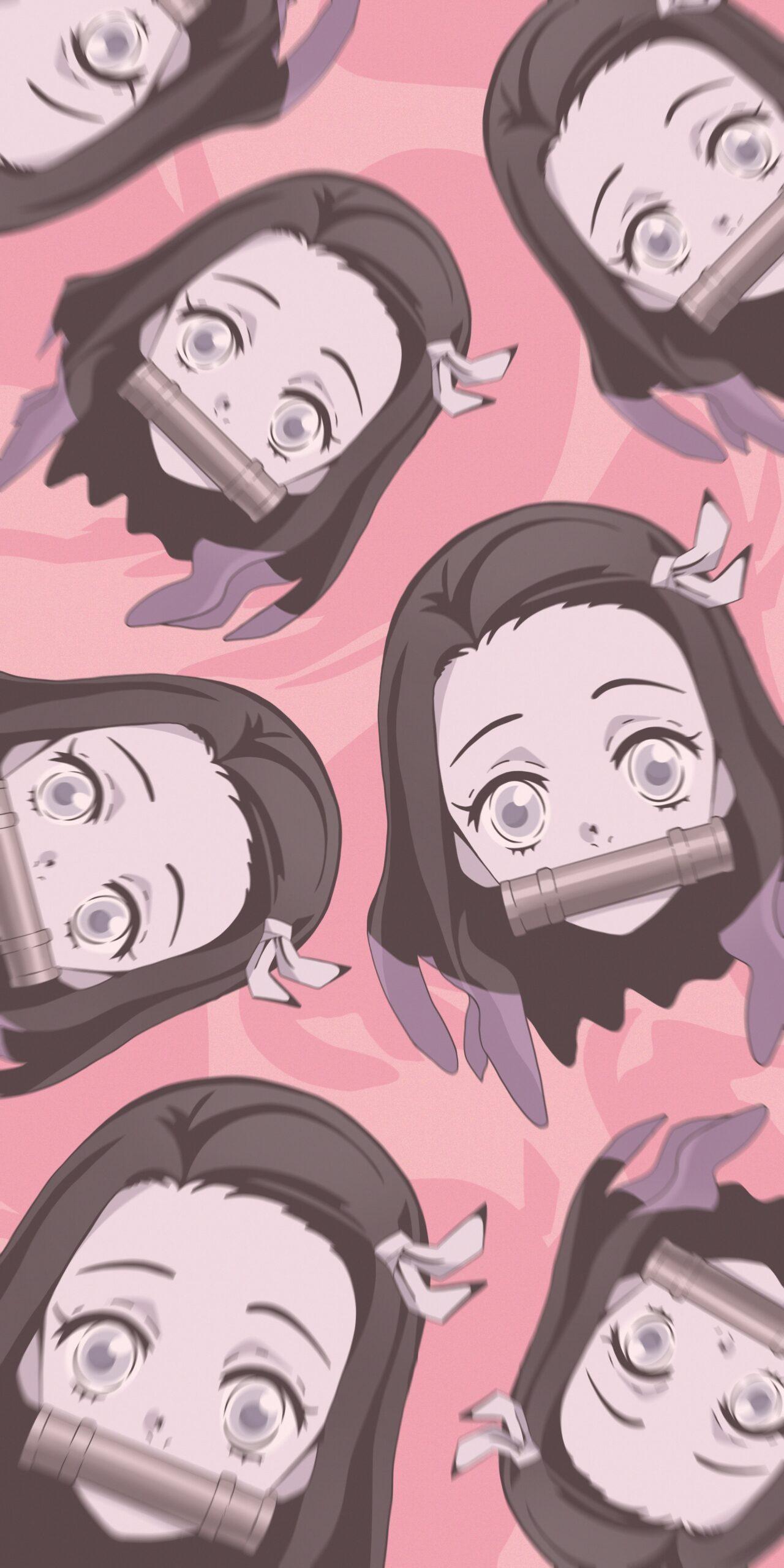 demon slayer nezuko kamado pink backgroundwallpaper