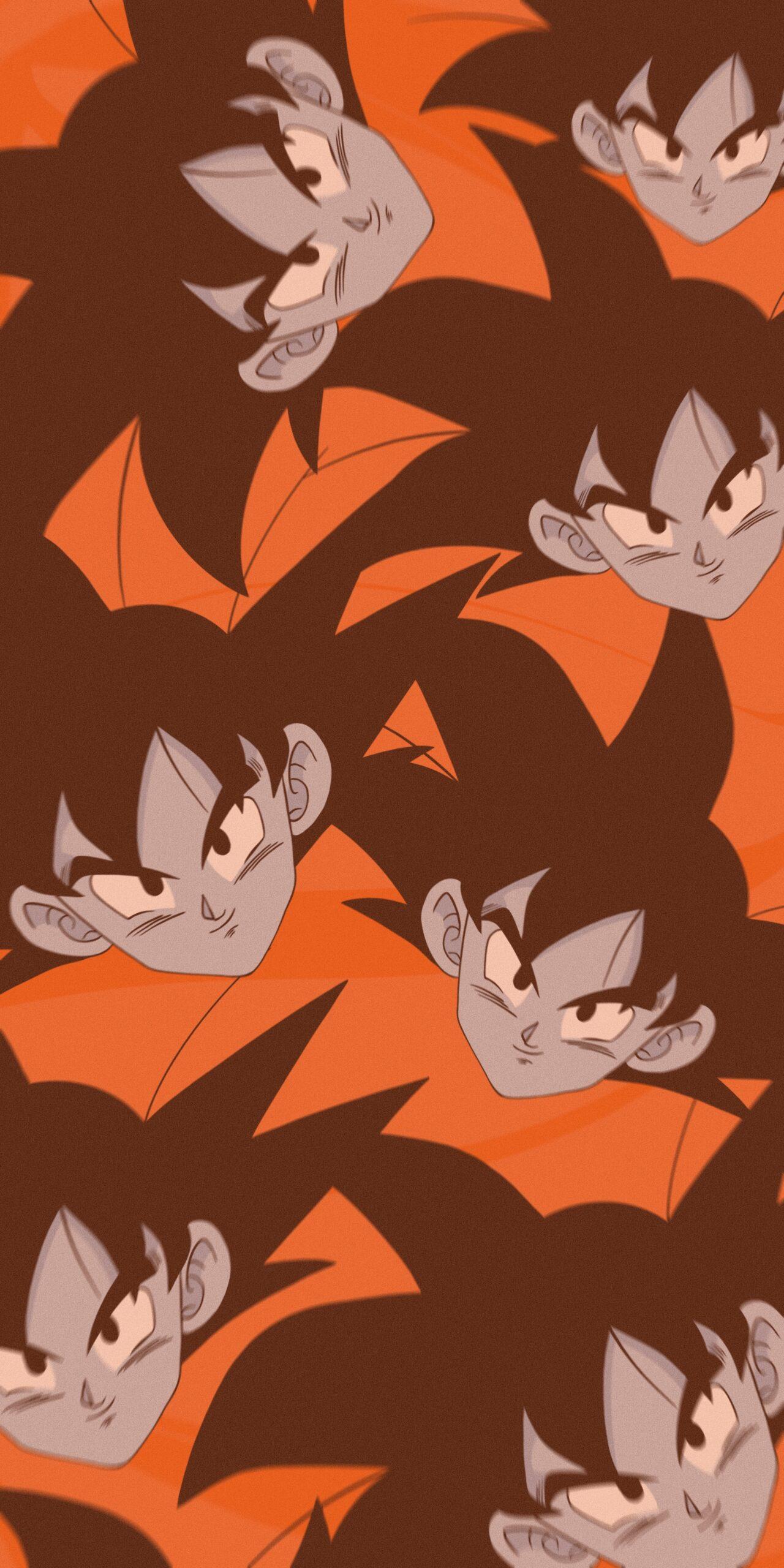 dragon ball z goku orange background wallpaper