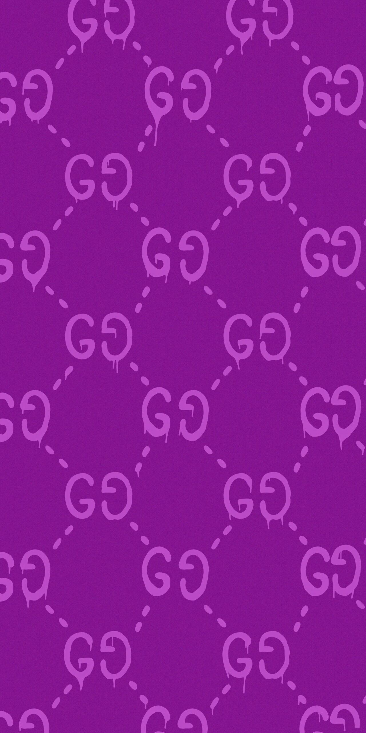 gucci ghost pattern purple background wallpaper
