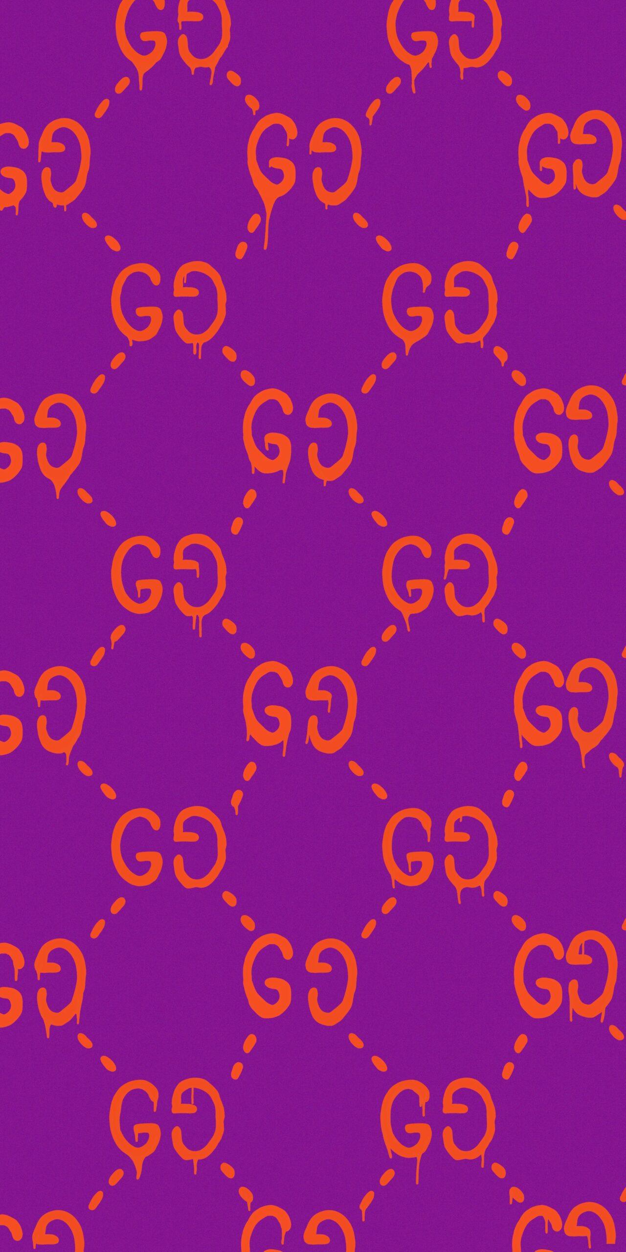 gucci ghost pattern purple wallpaper