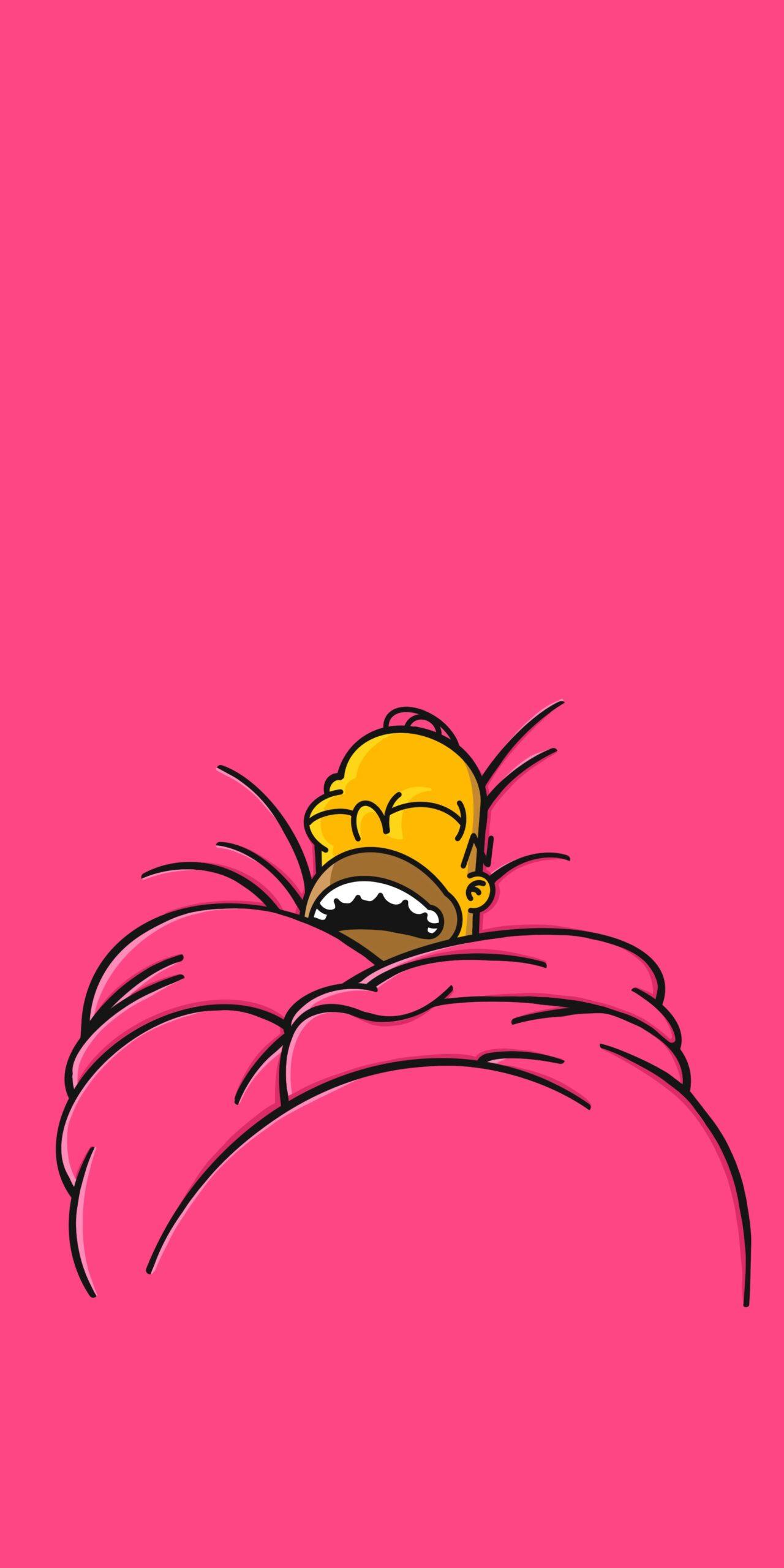 homer simpson sleeping pink wallpaper