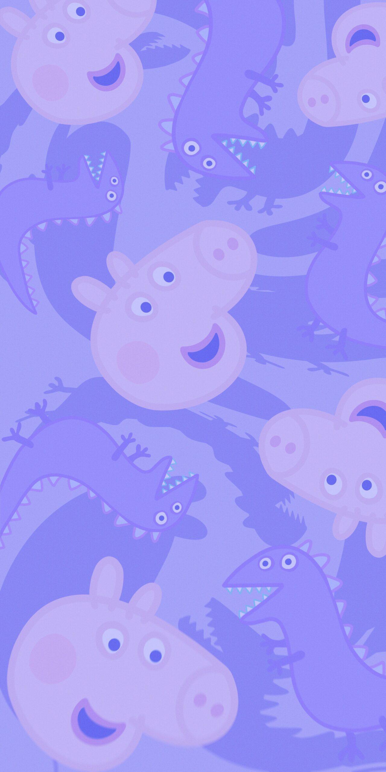 peppa pig george dinosaur purple background wallpaper jpg