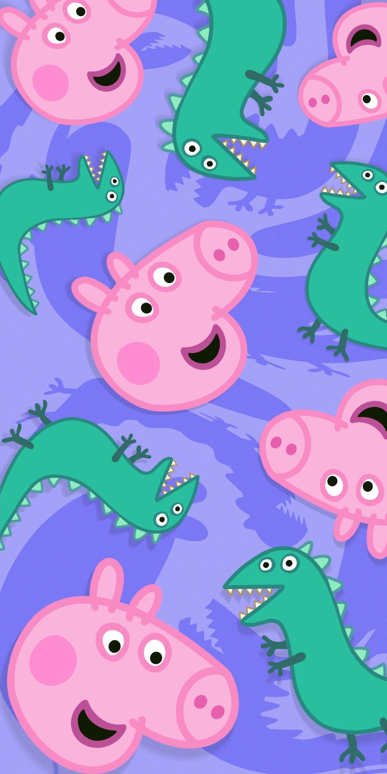 peppa pig george dinosaur purple wallpaper