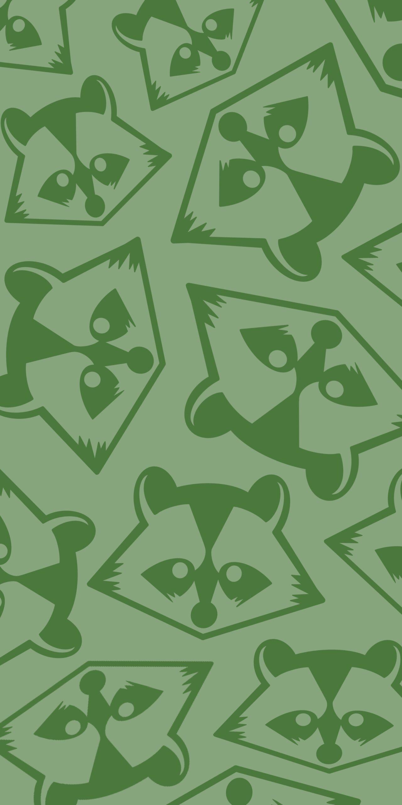 raccoon green monochrome background wallpaper