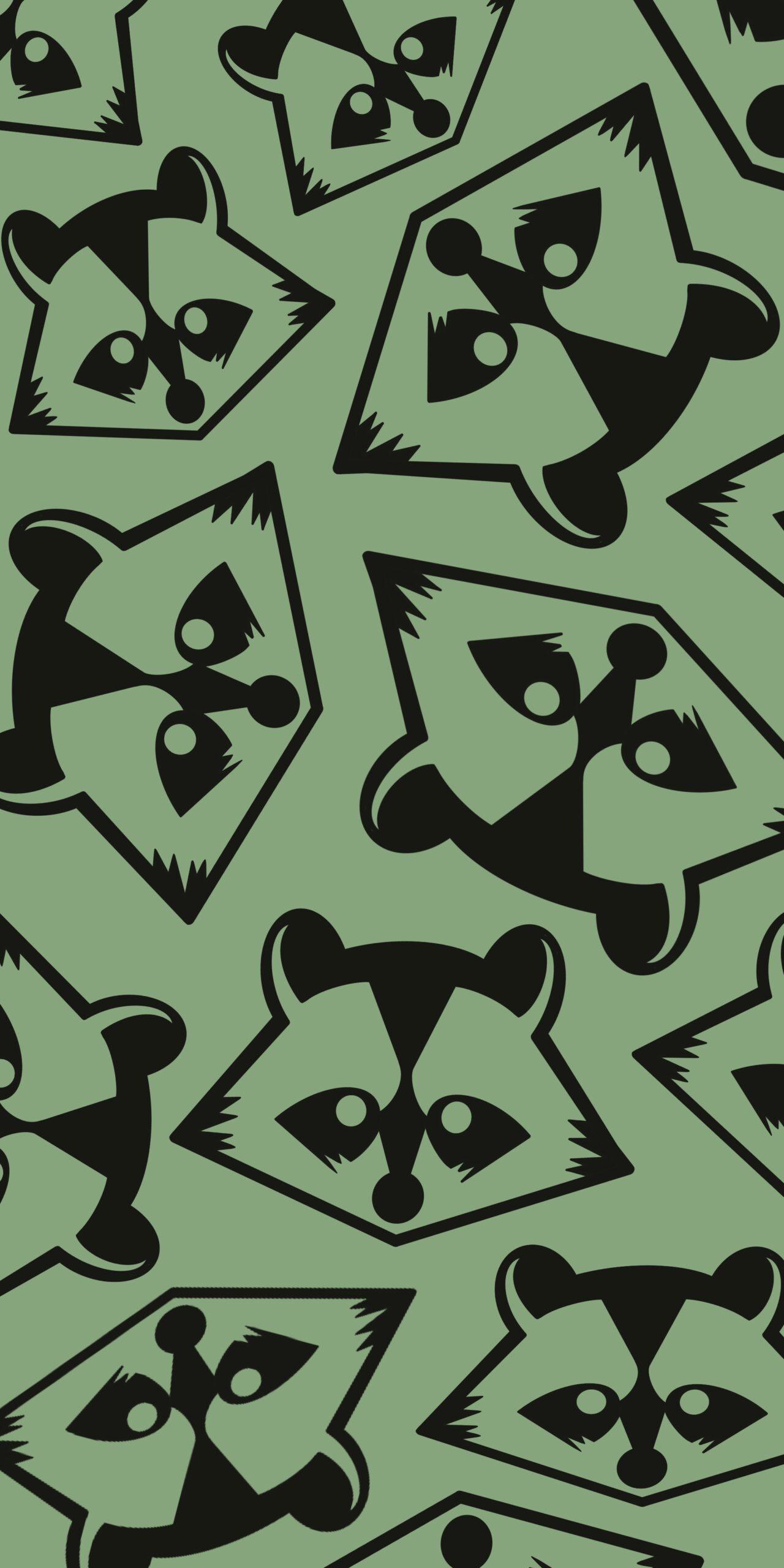 raccoon green monochrome wallpaper