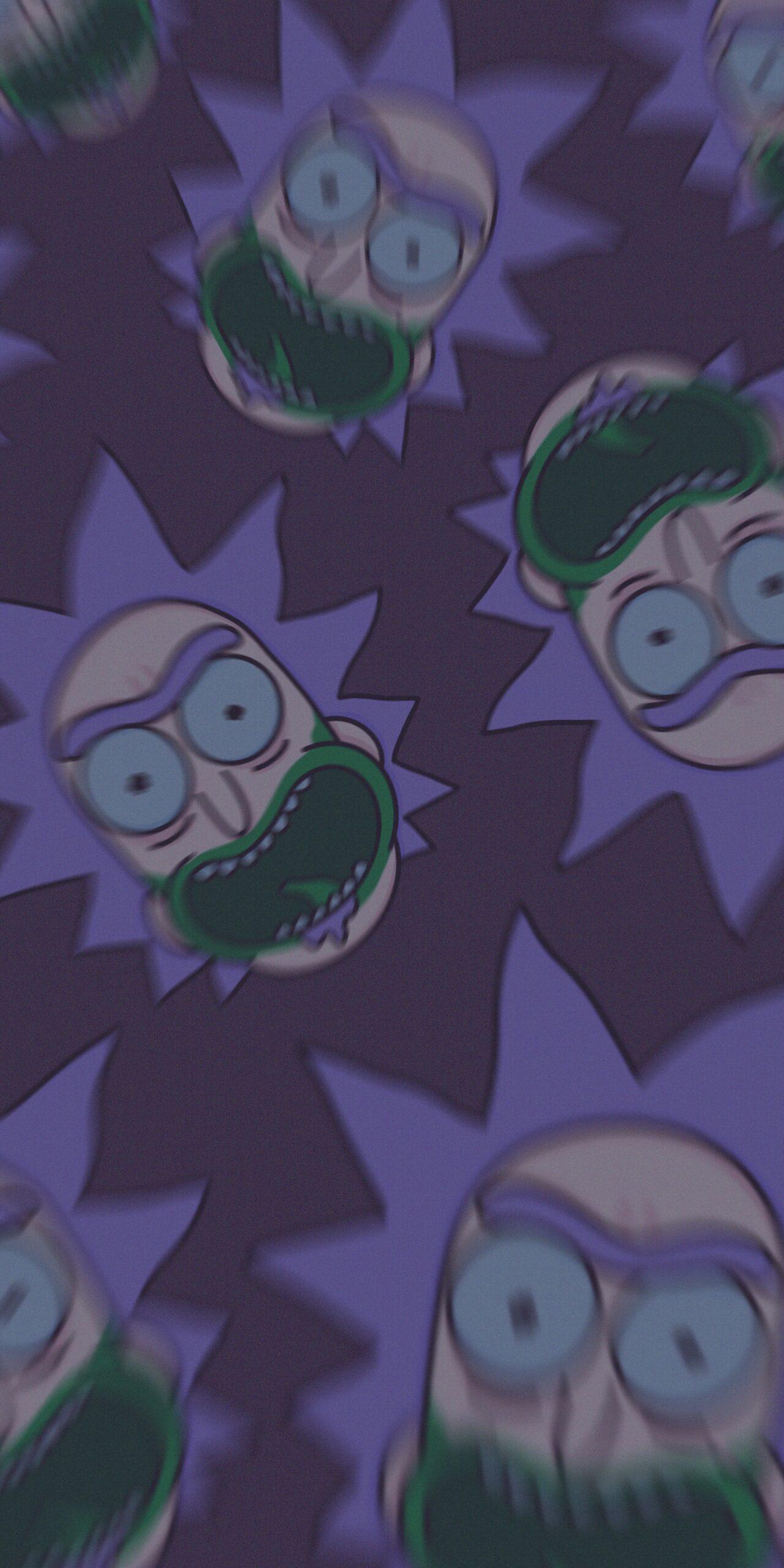 rick and morty rick sanchez joker purple background wallpaper