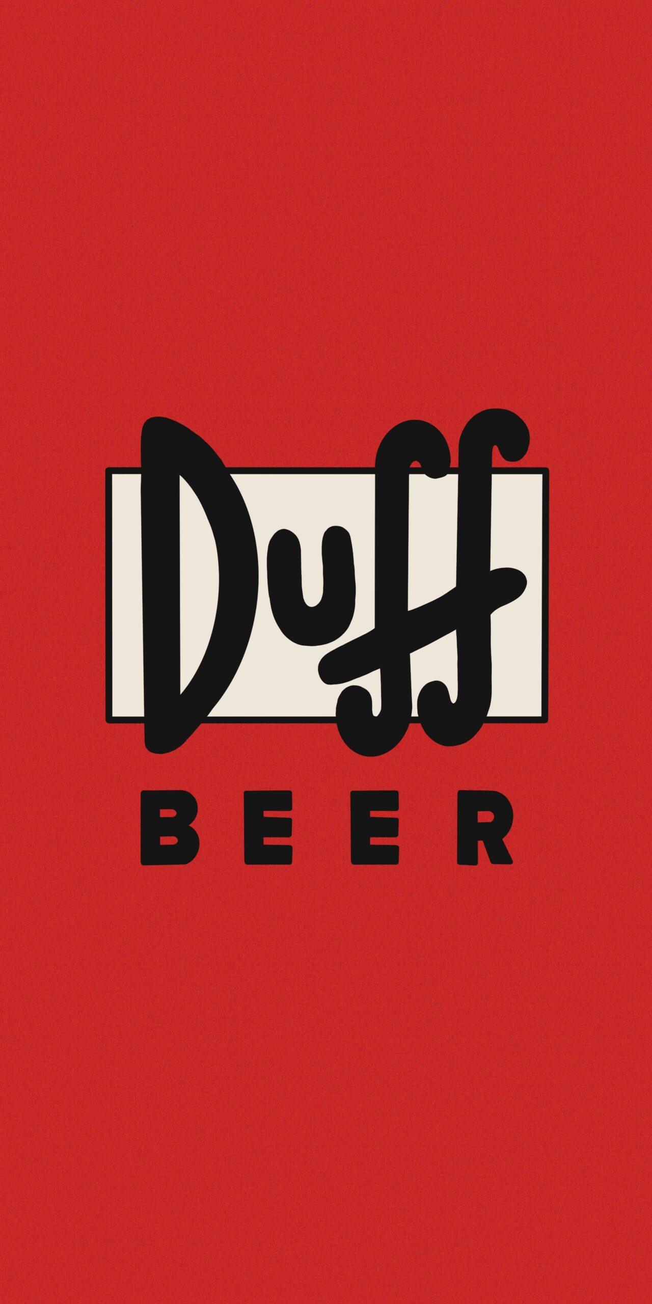 simpsons duff beer logo red wallpaper