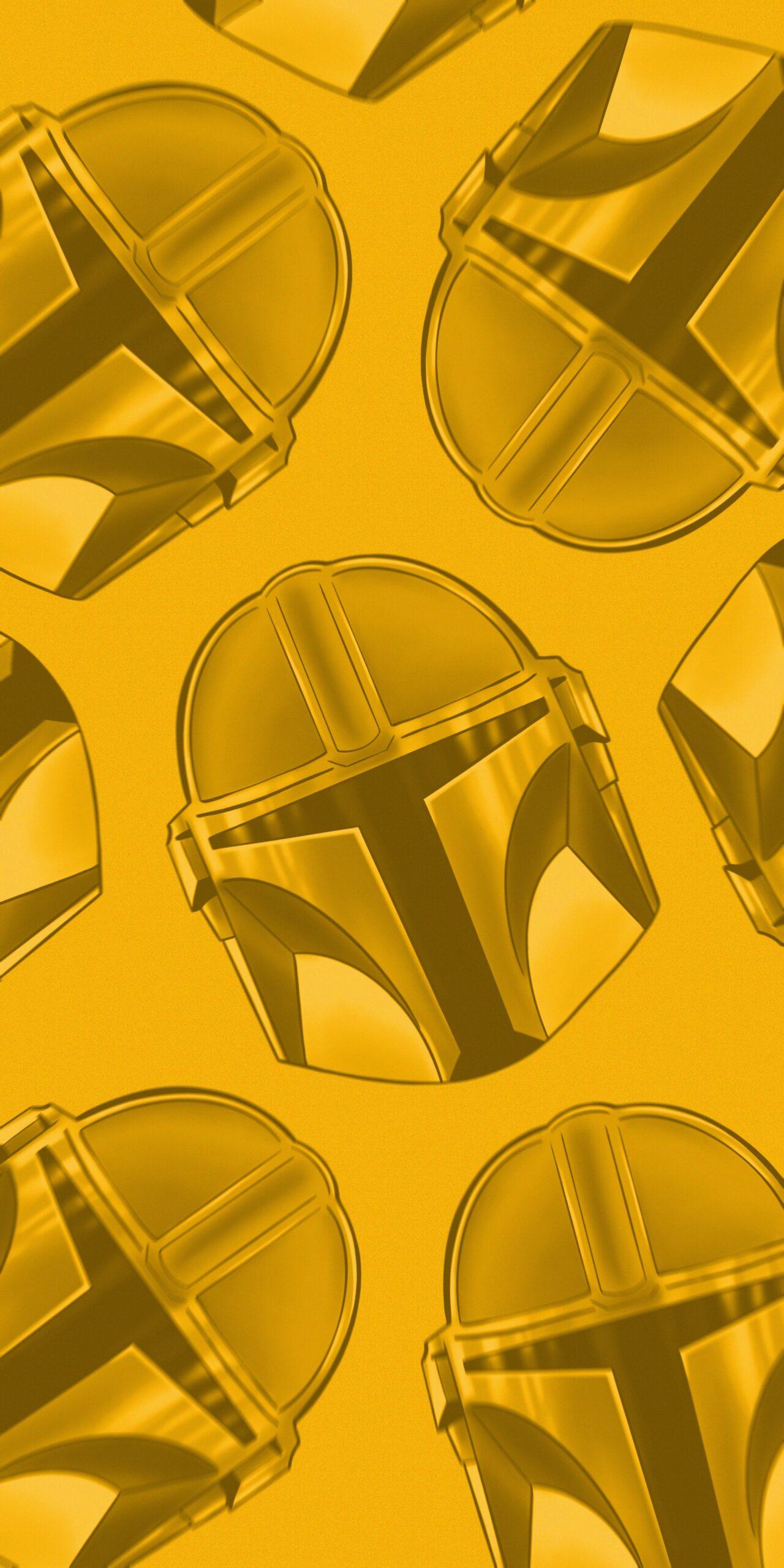 star wars mandalorian helmet yellow background wallpaper
