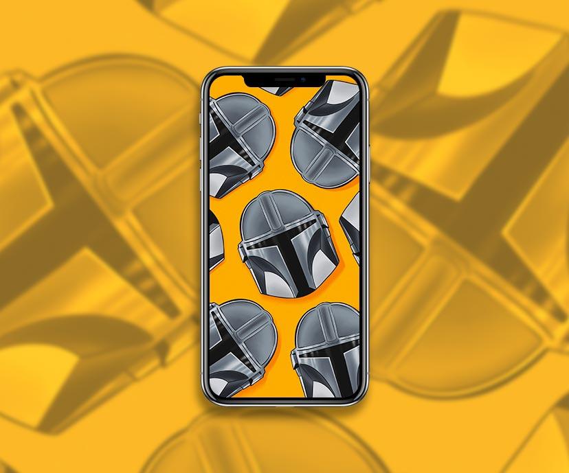 star wars mandalorian helmet yellow wallpapers collection