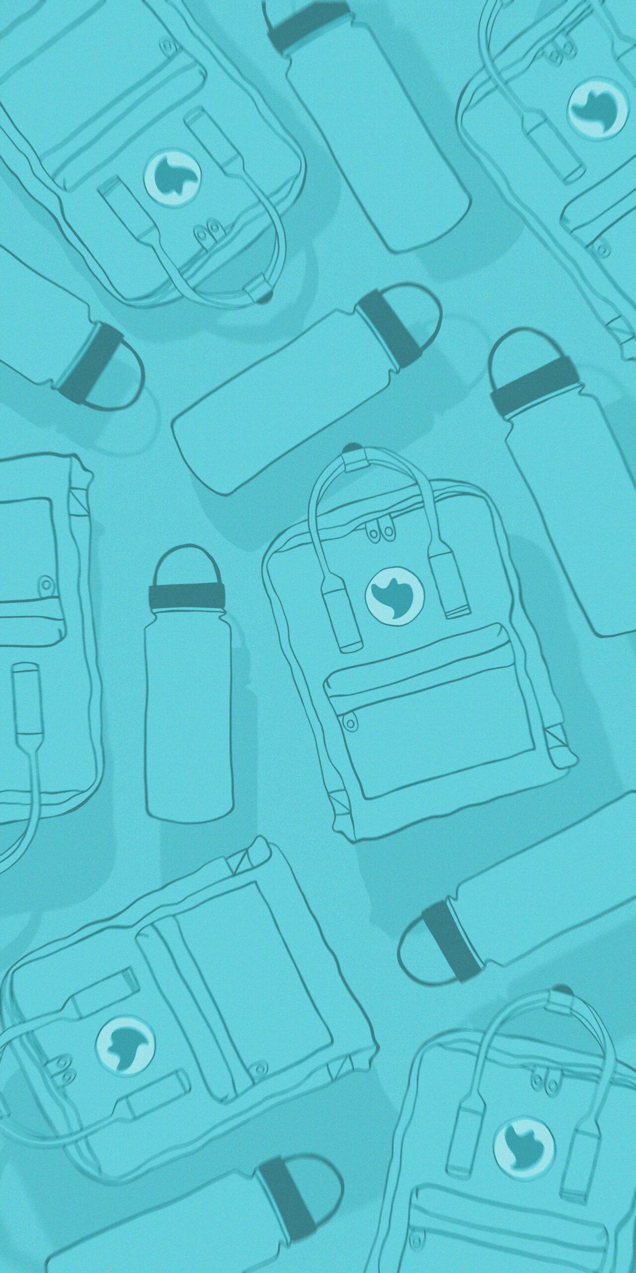 vsco kanken backpack water bottle blue background wallpaper