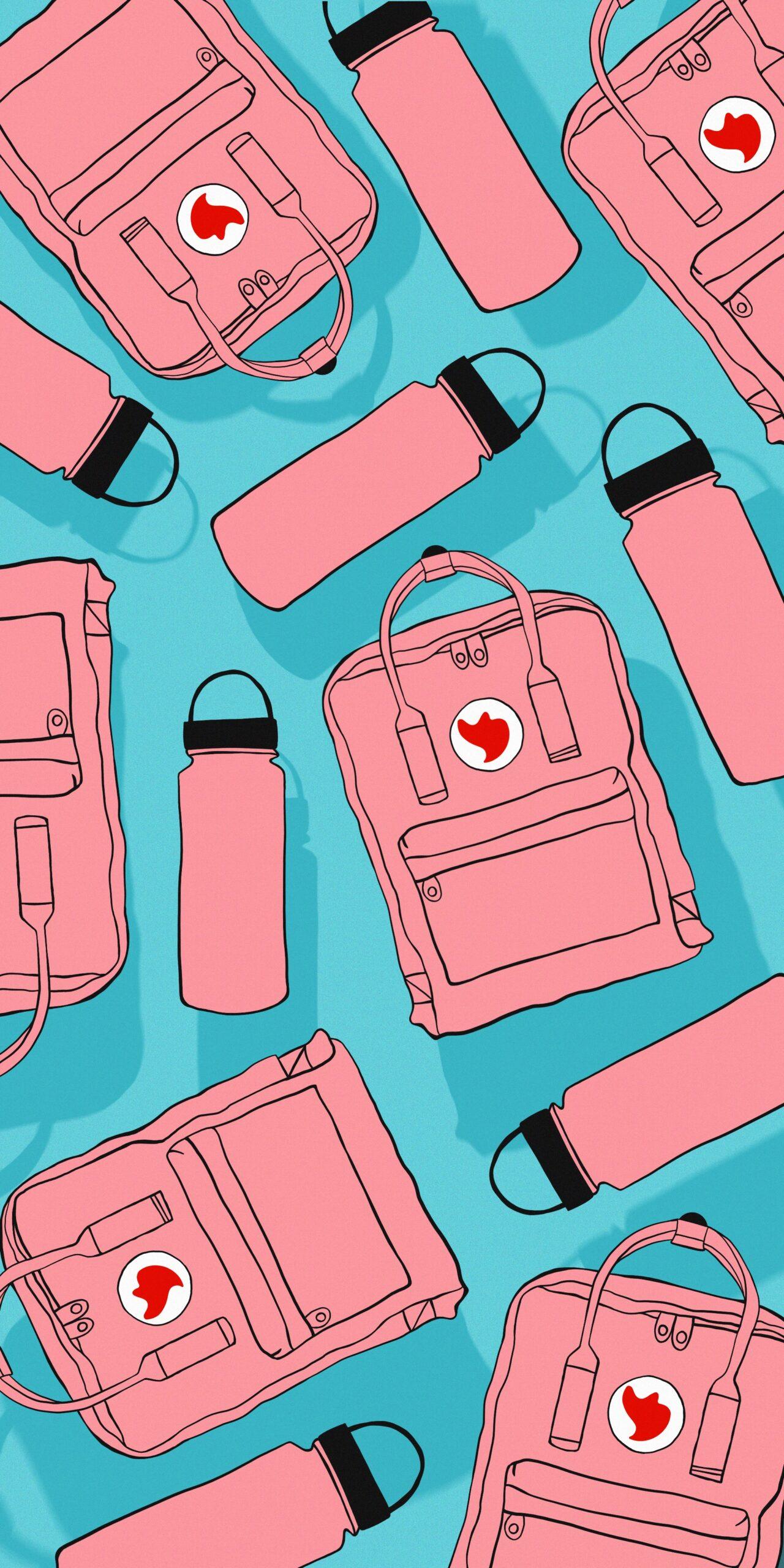 vsco kanken backpack water bottle pink blue wallpaper