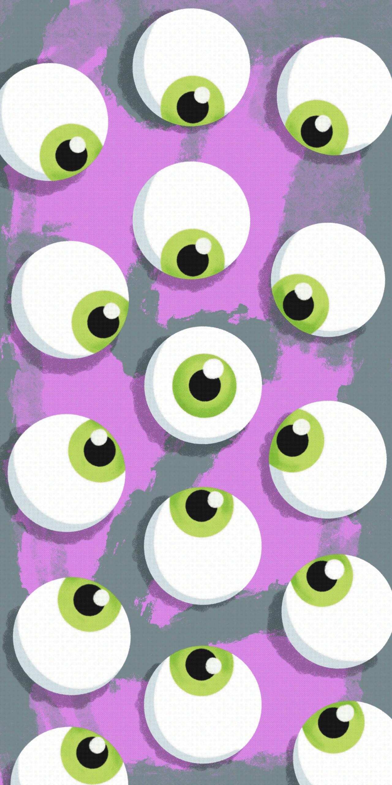 green eyeballs halftone pink wallpaper