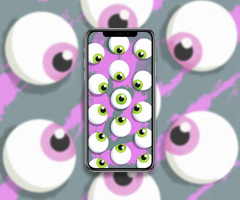 green eyeballs halftone pink wallpapers collection