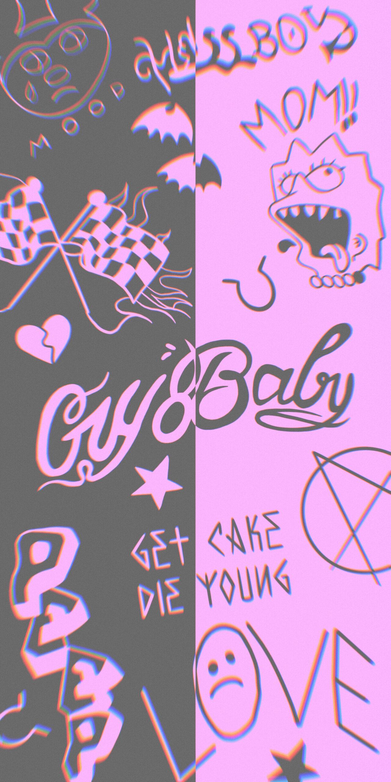 lil peep tattoos pink black backgroud wallpaper