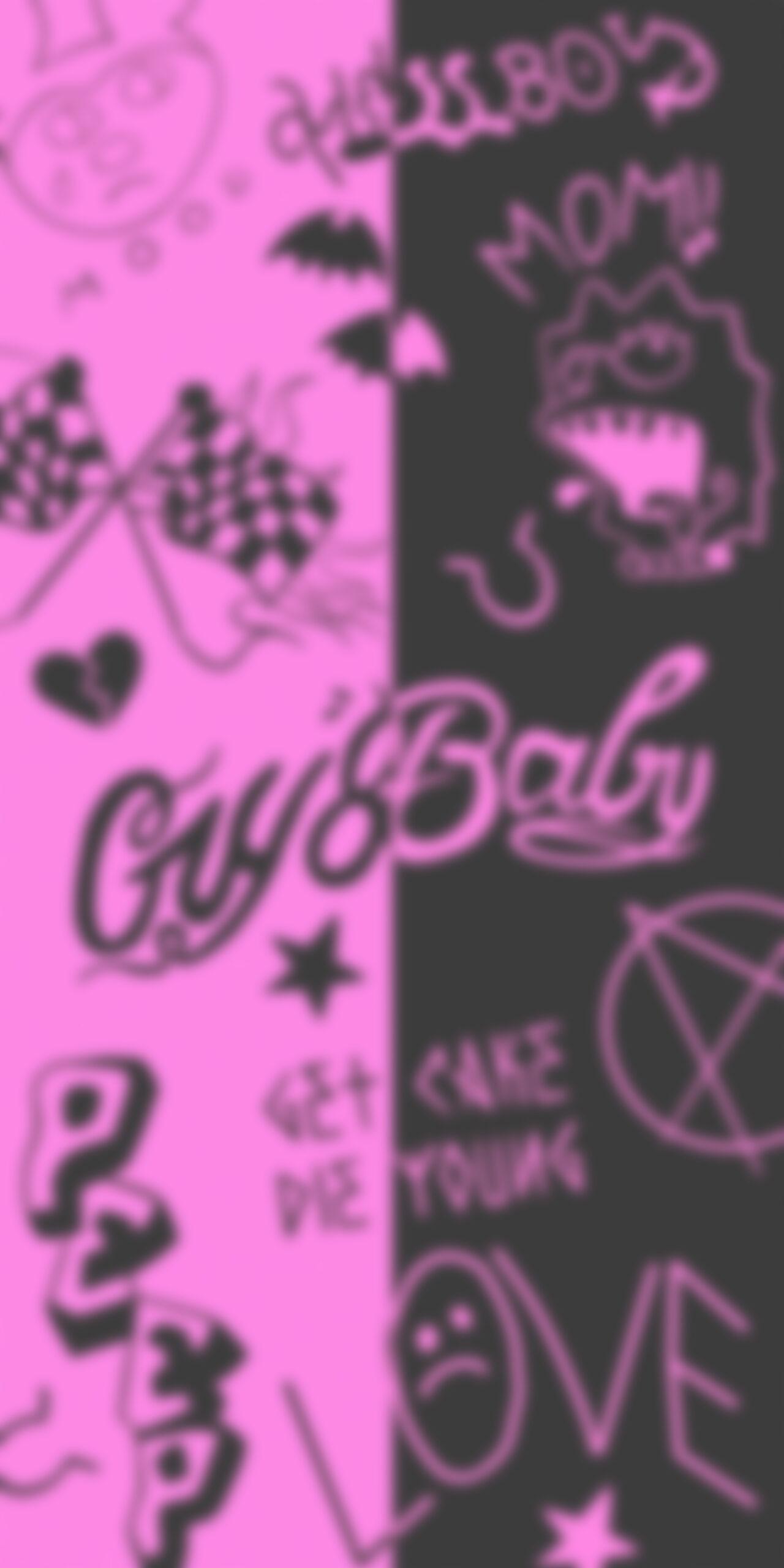 lil peep tattoos pink black blur wallpaper