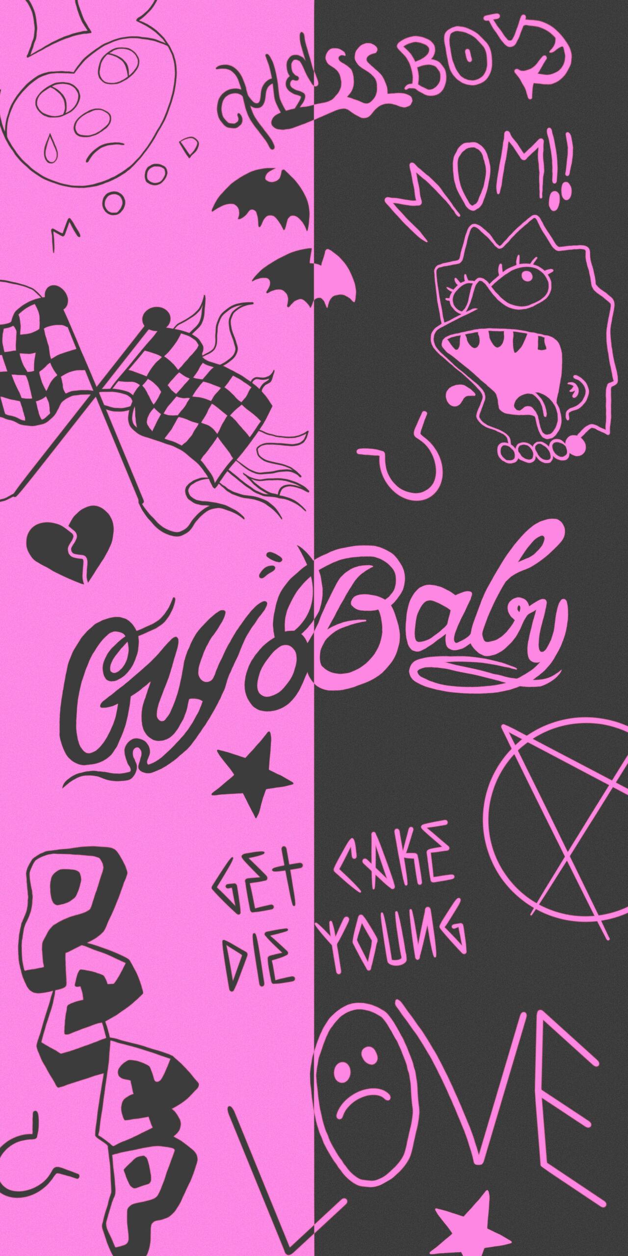 lil peep tattoos pink black wallpaper