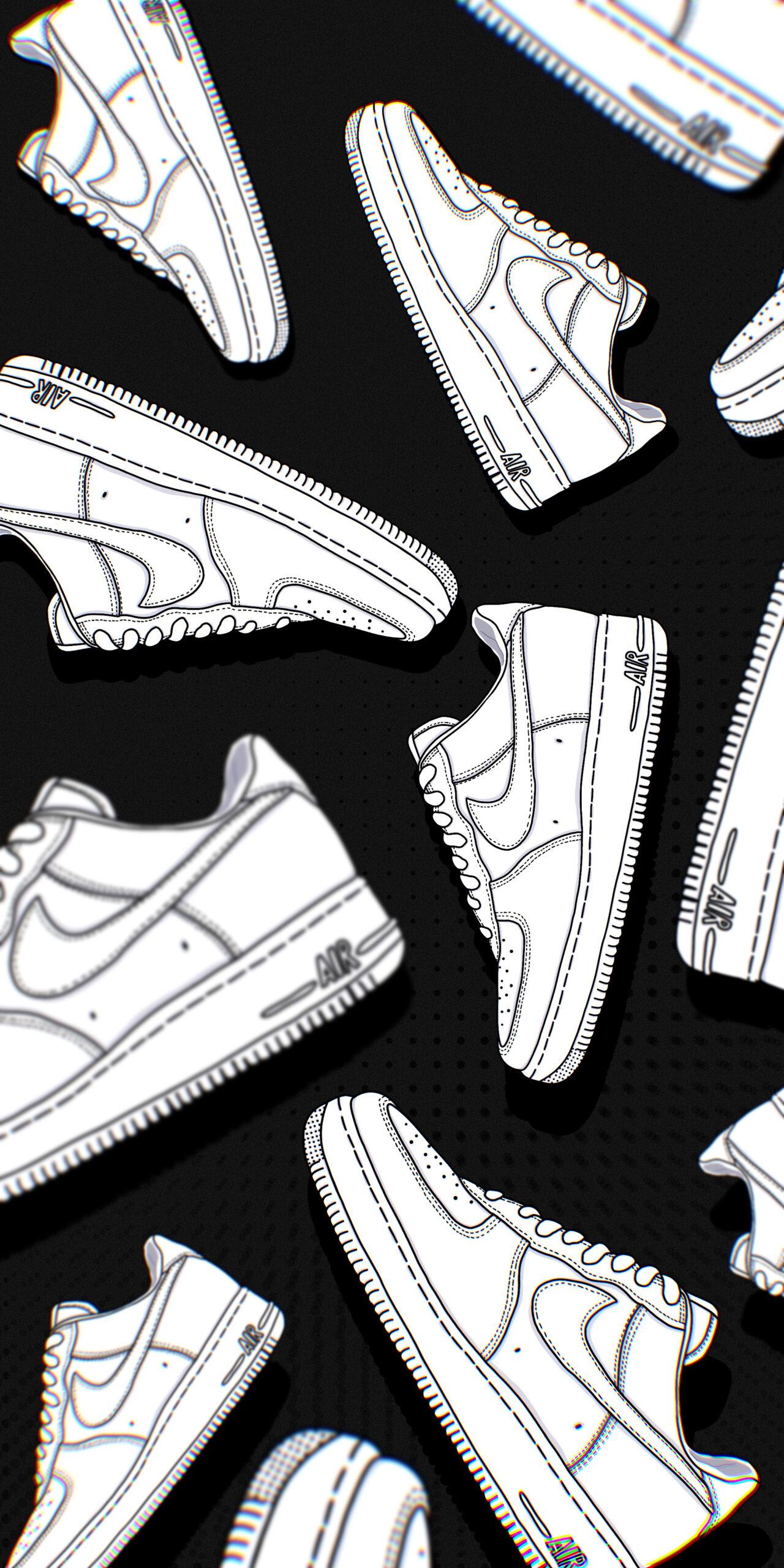 nike air force 1 shoes white black wallpaper