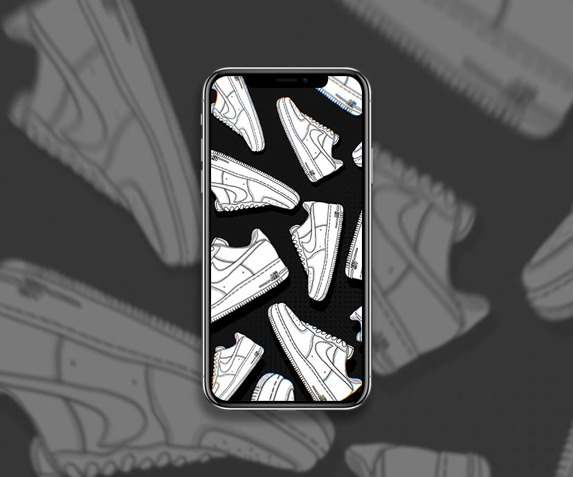 nike air force 1 shoes white black wallpapers collection