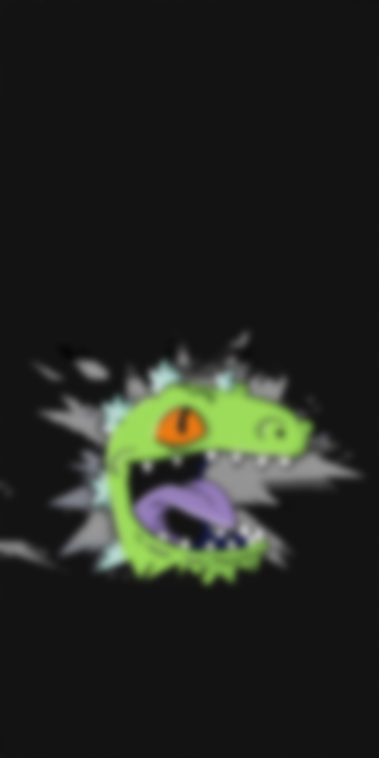 rugrats reptar dinosaur broken screen dark blur wallpaper