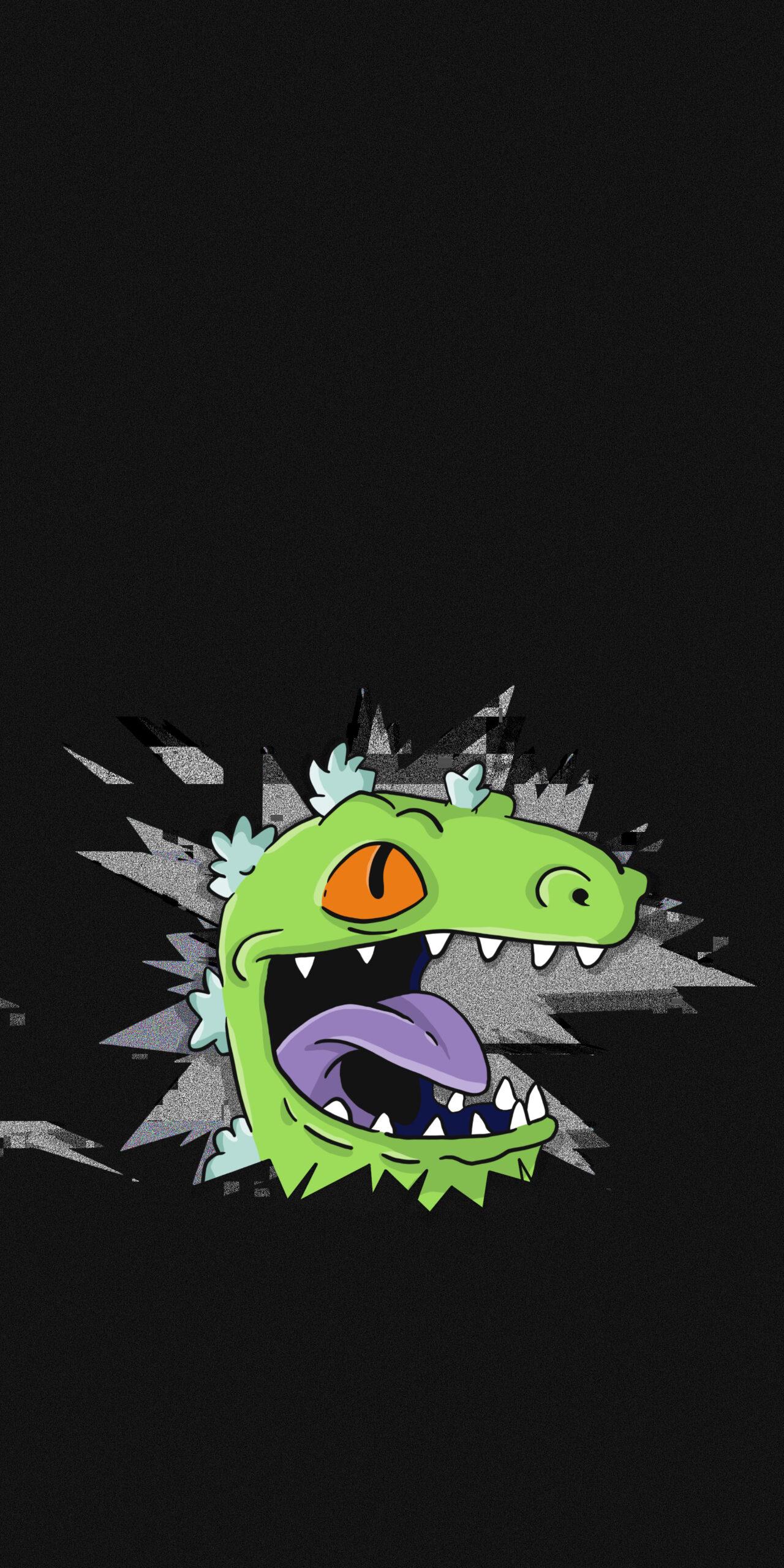rugrats reptar dinosaur broken screen dark wallpaper