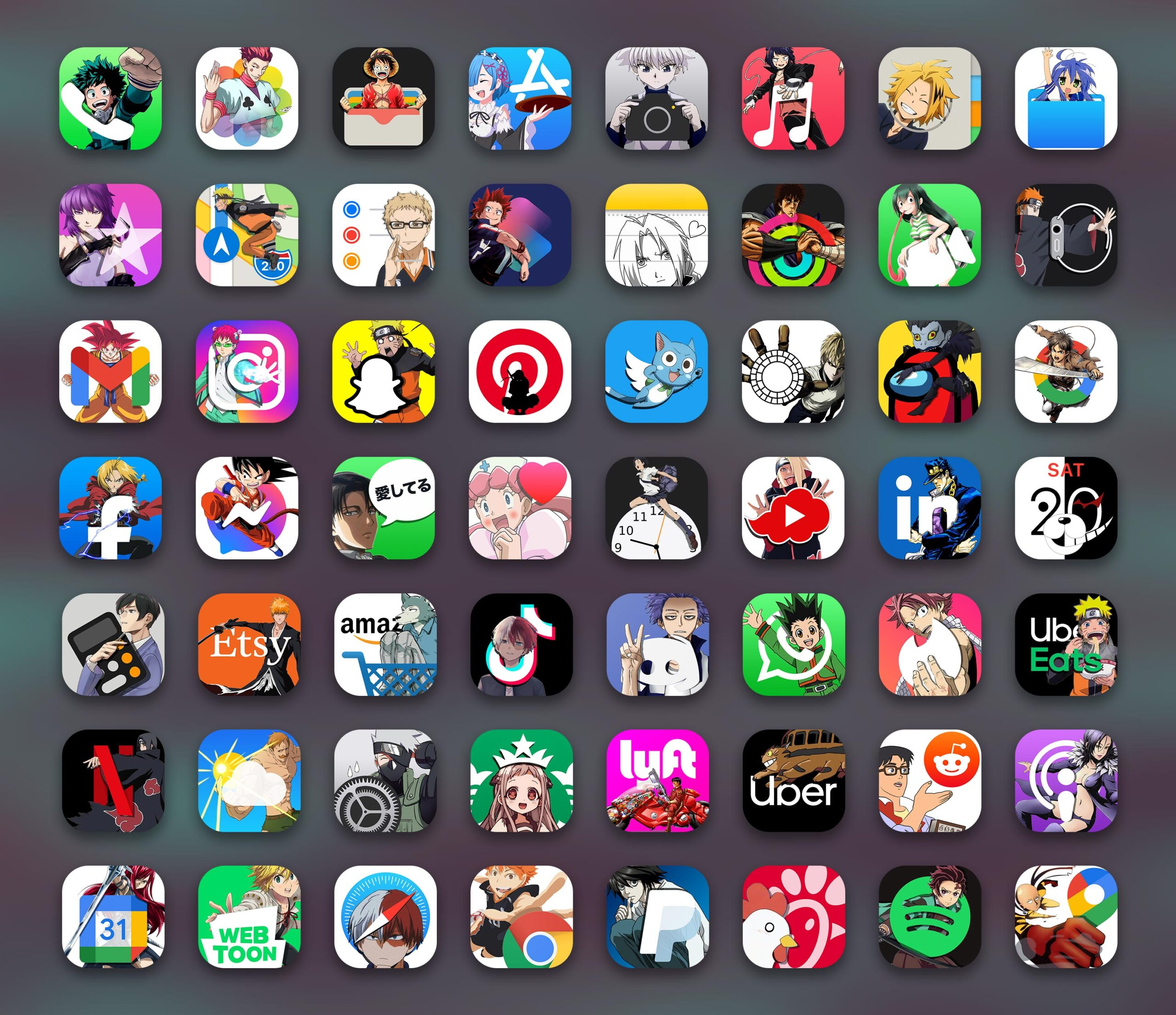 anime app icons pack preview 3