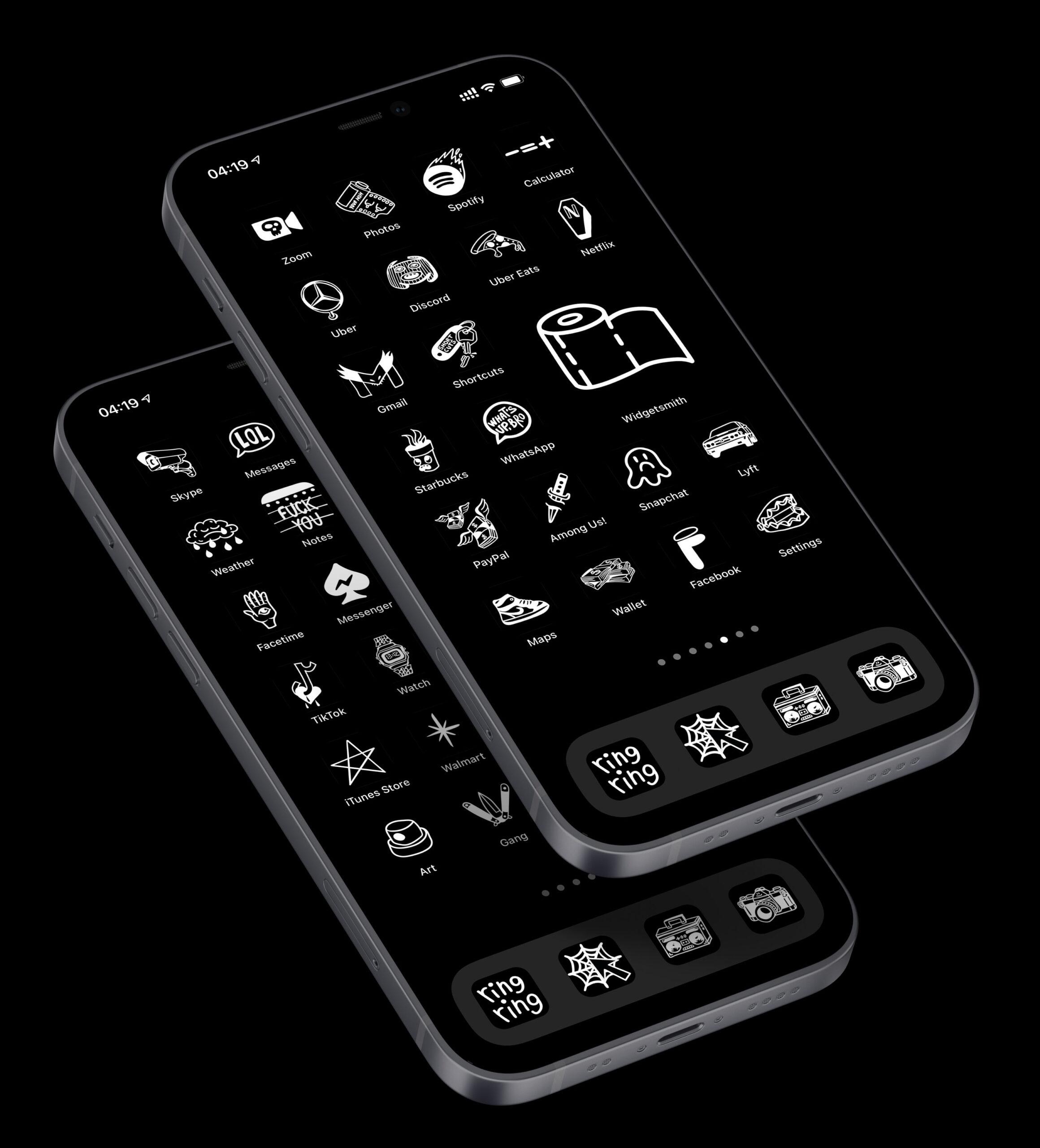 black tattoo app icons pack preview 1