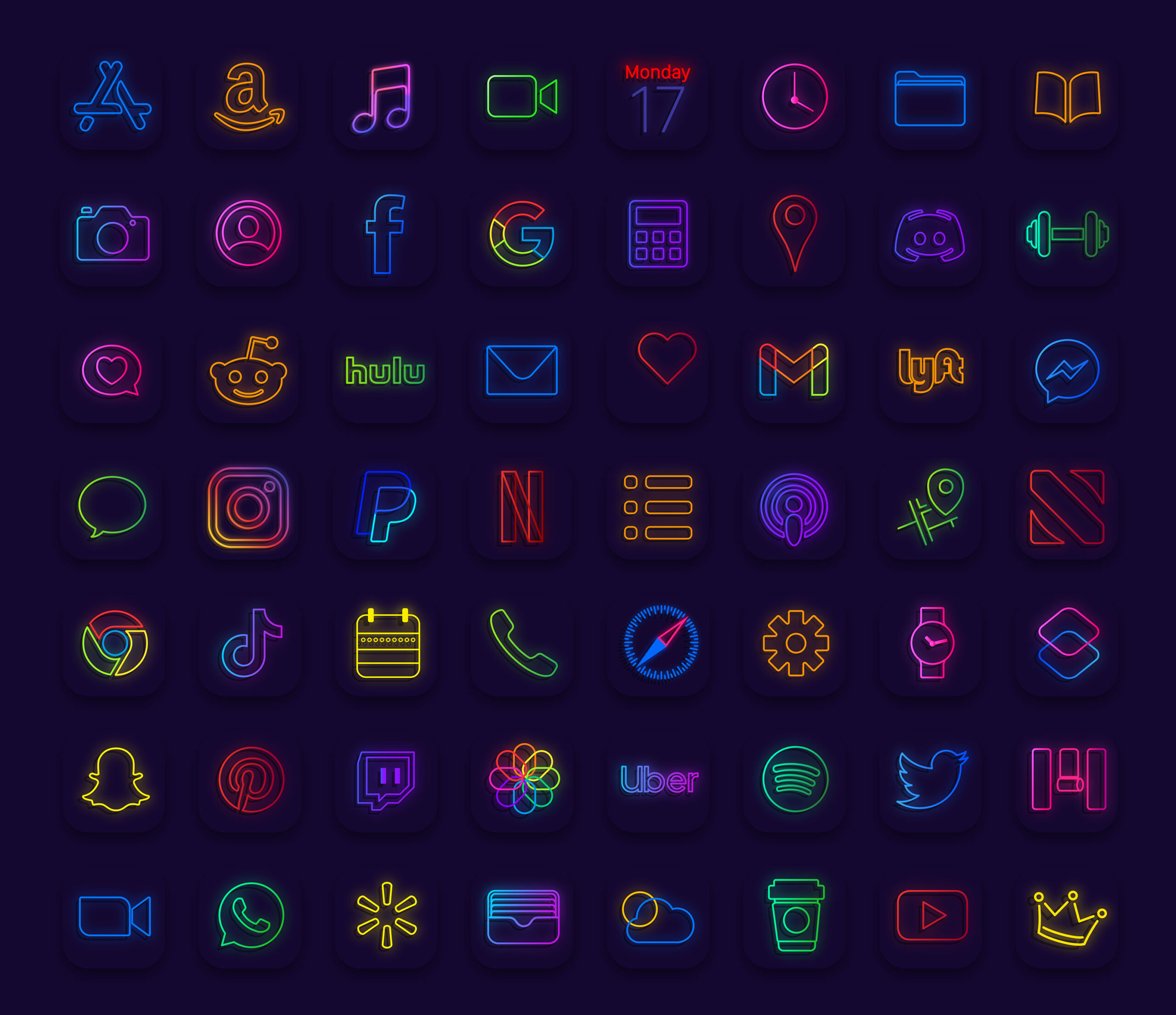 color neon app icons pack preview 3