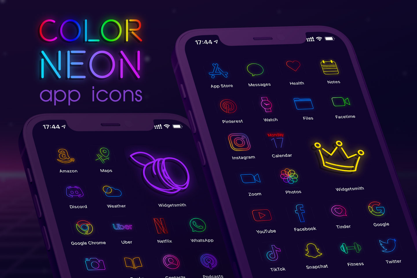 color neon app icons pack