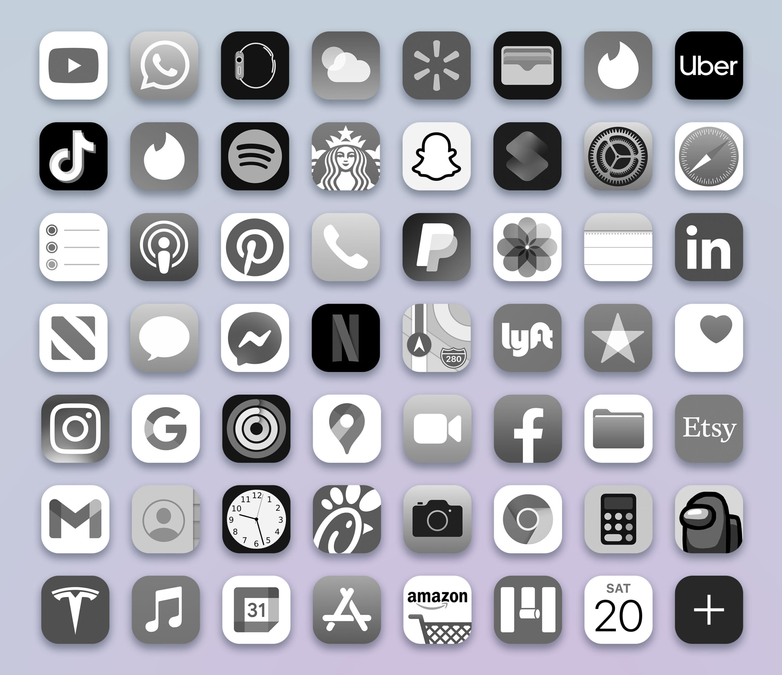 grayscale ios app icons pack preview 3