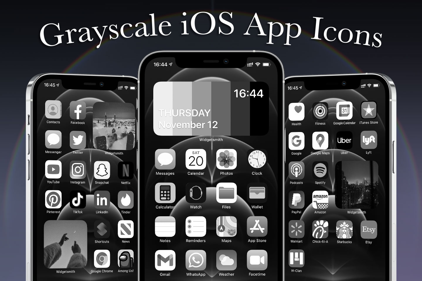 grayscale ios app icons pack