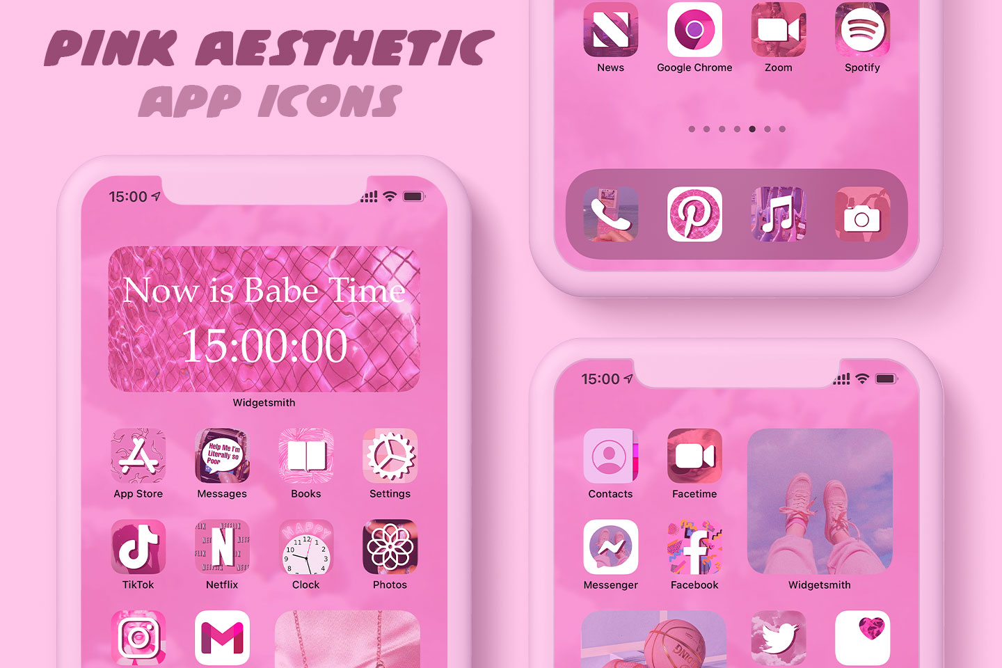 pink aesthetic app icons pack