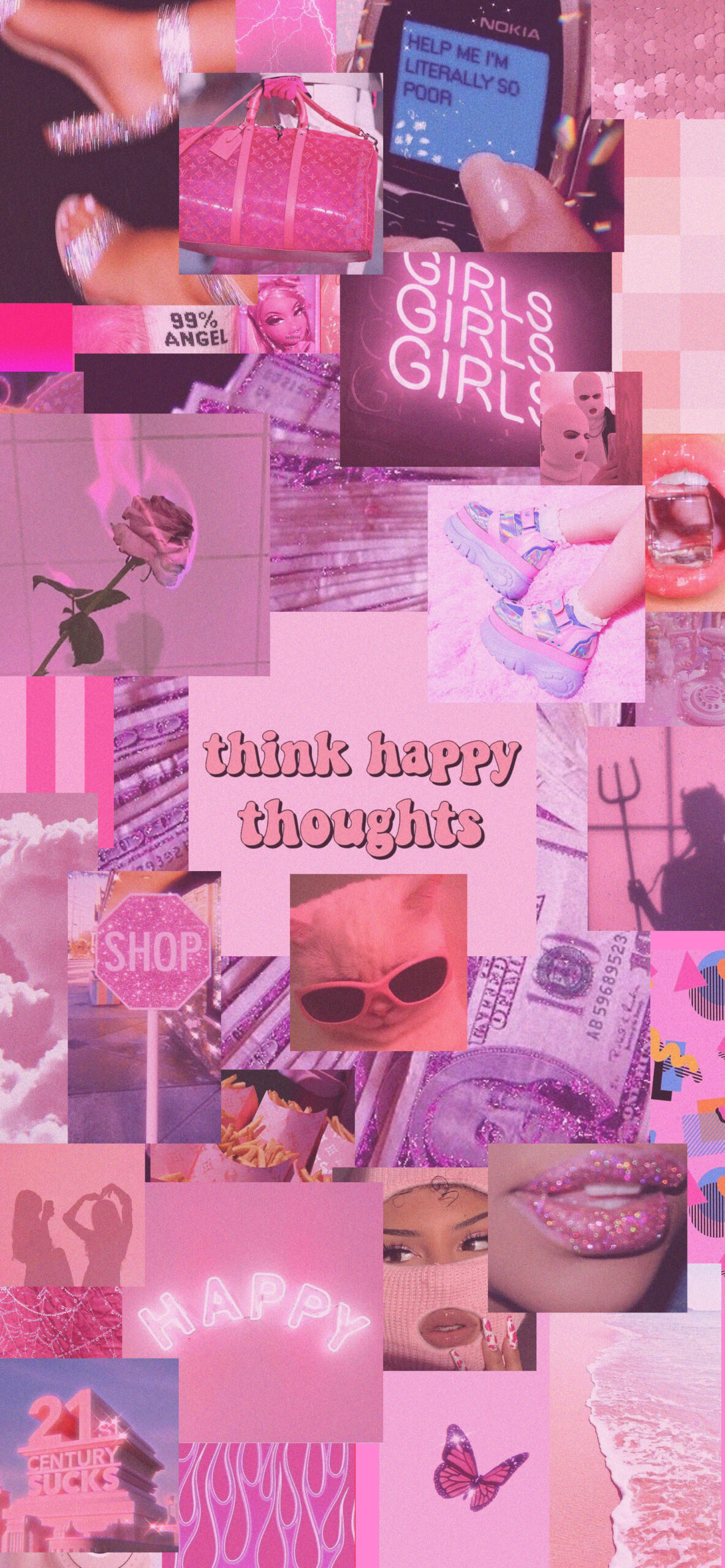pink aesthetic think happy thoughts wallpaper