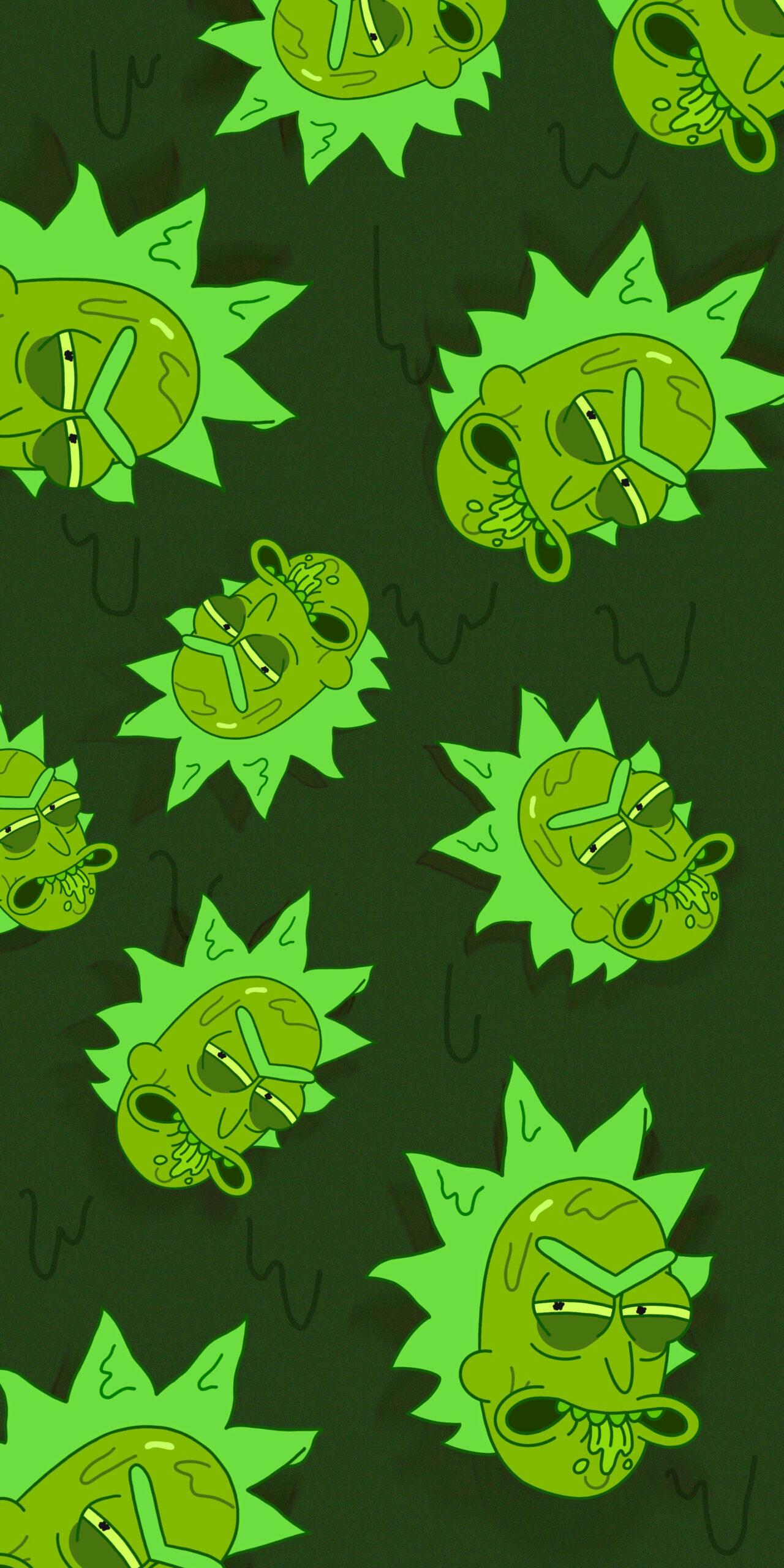 rick and morty toxic rick green wallpaper