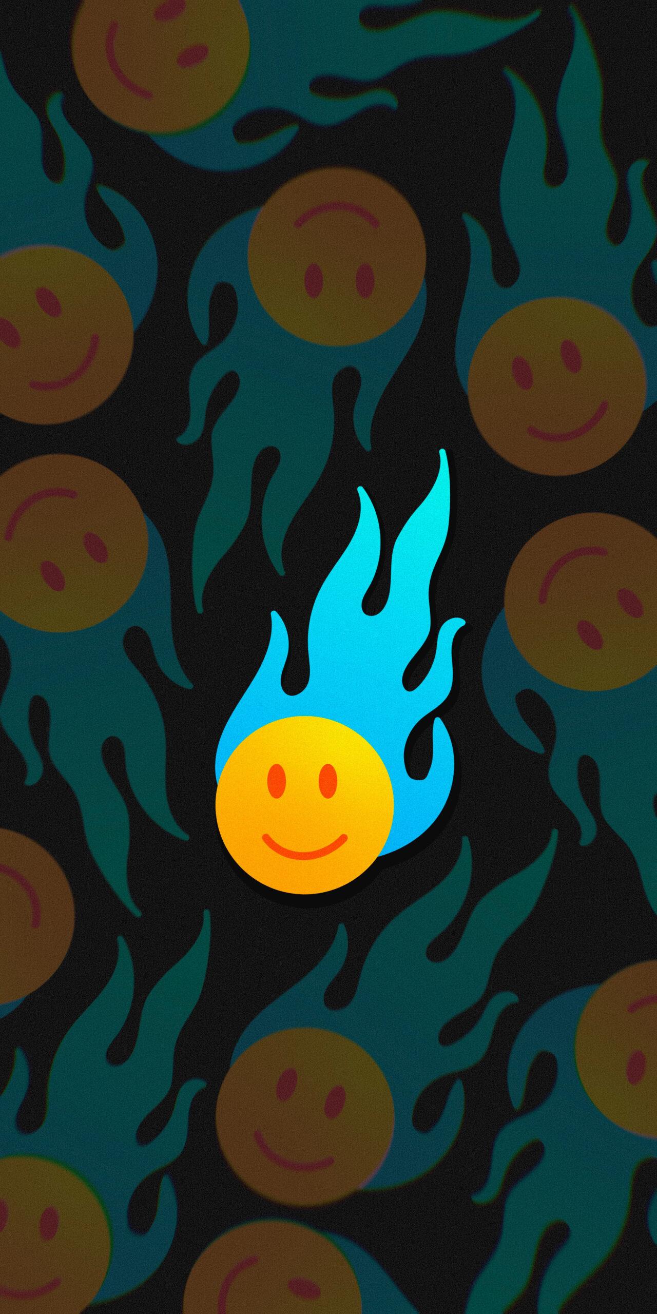 smile face blue flame black 2 wallpaper