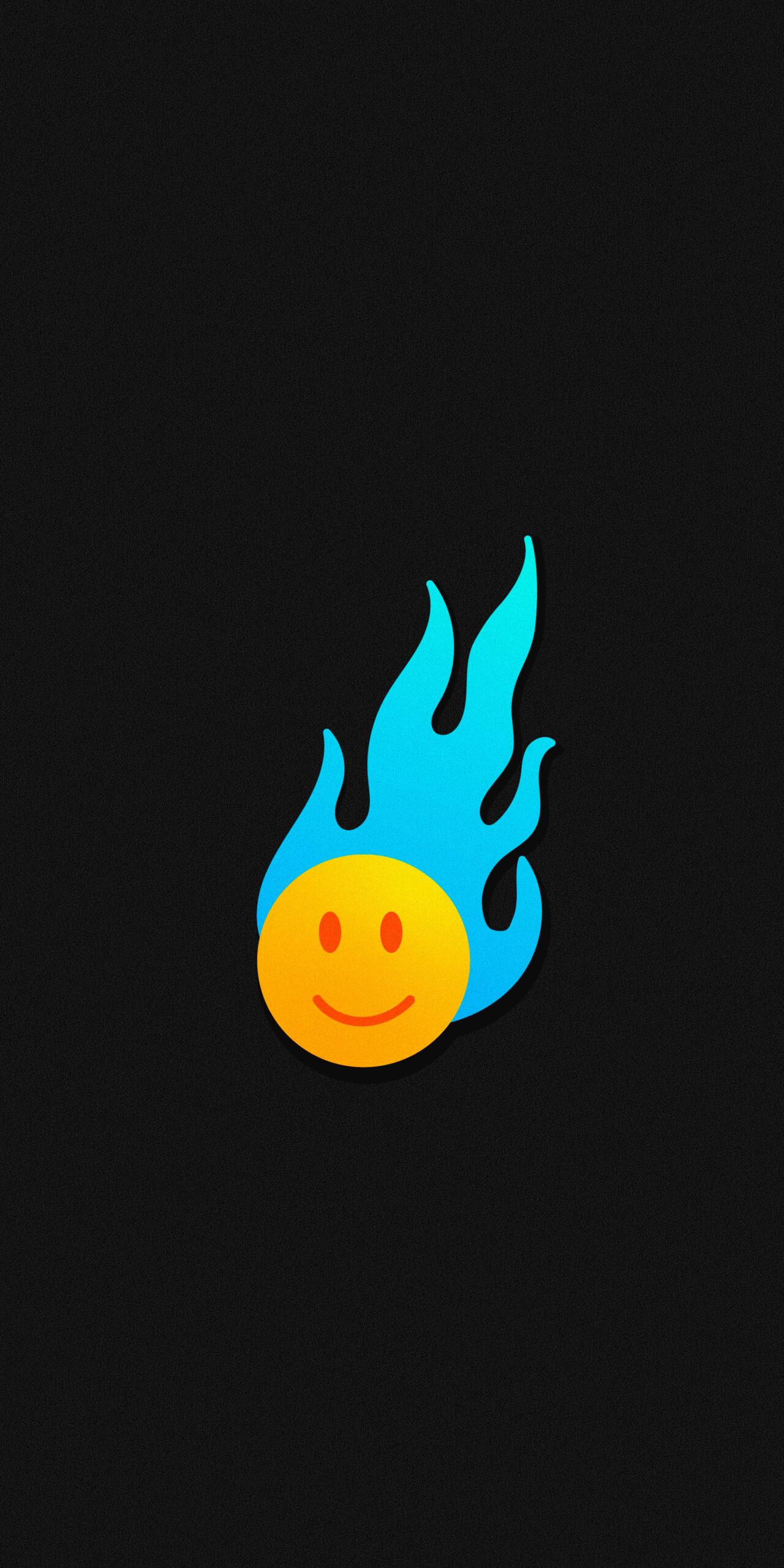 smile face blue flame black wallpaper