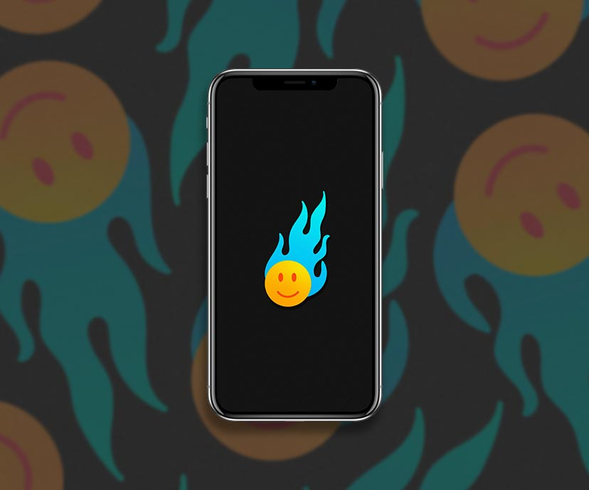 smile face blue flame black wallpapers collection