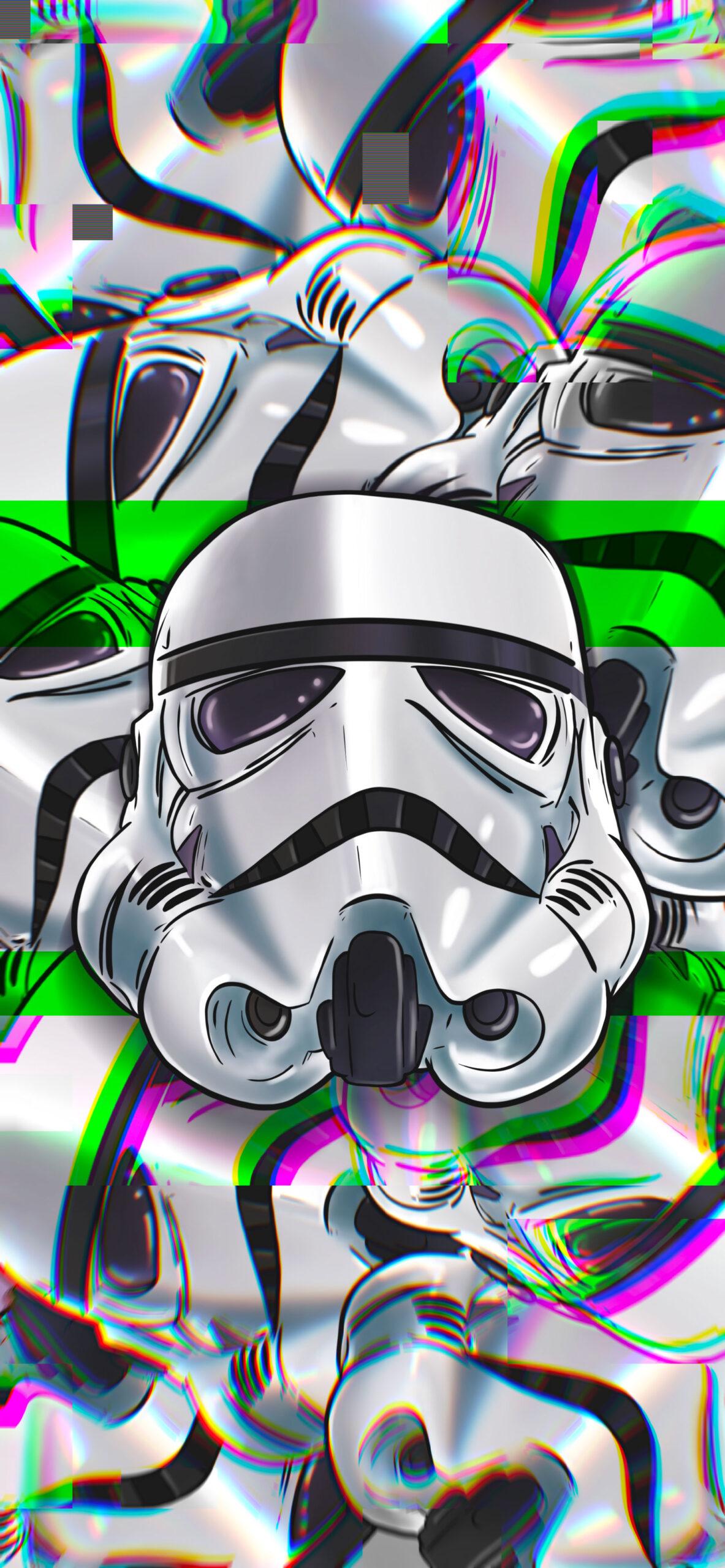 star wars stormtrooper helmet glitch wallpaper